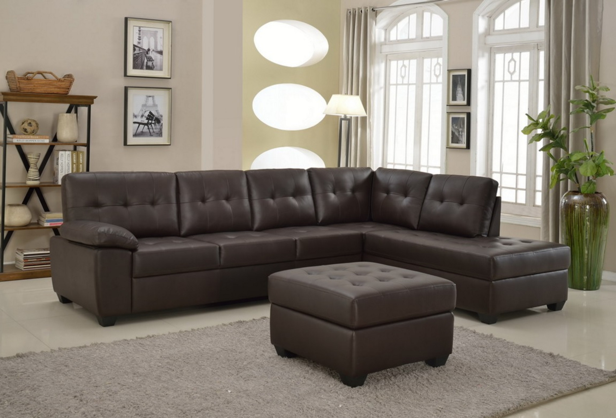 3PCS BROWN LEATHER SECTIONAL SOFA CHAISE AND OTTOMAN - Kassa Mall ...