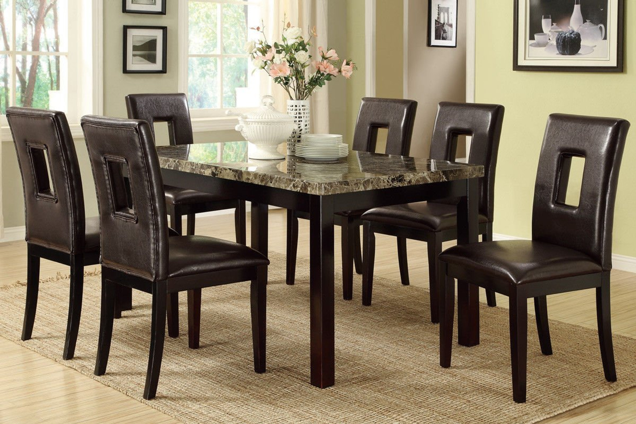 7pcs Dark Brown Marble Look Table Top Dining Room Set Km Home Furniture