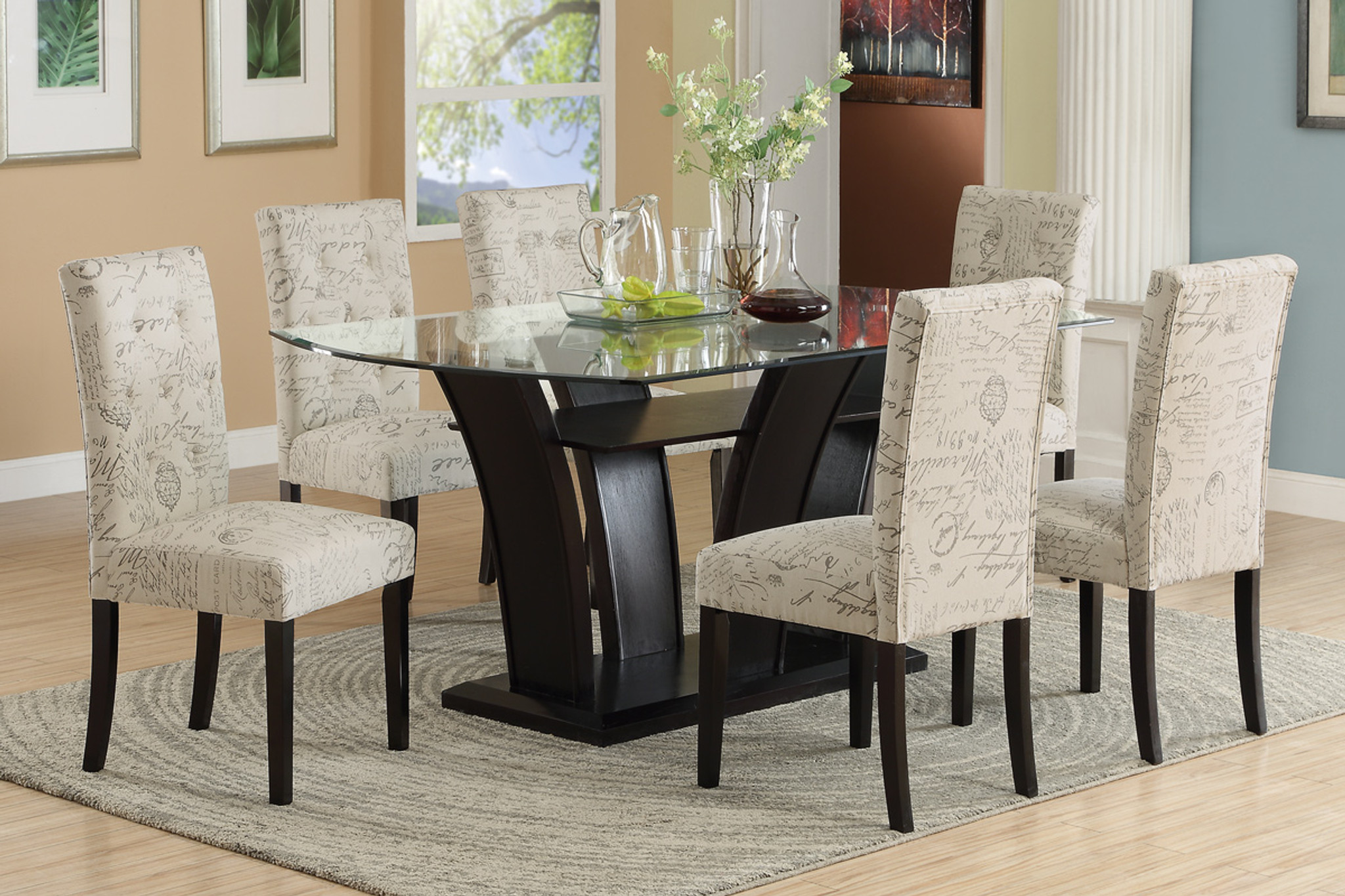 5PC FUTURISTIC STYLE FORMAL DINING ROOM SET