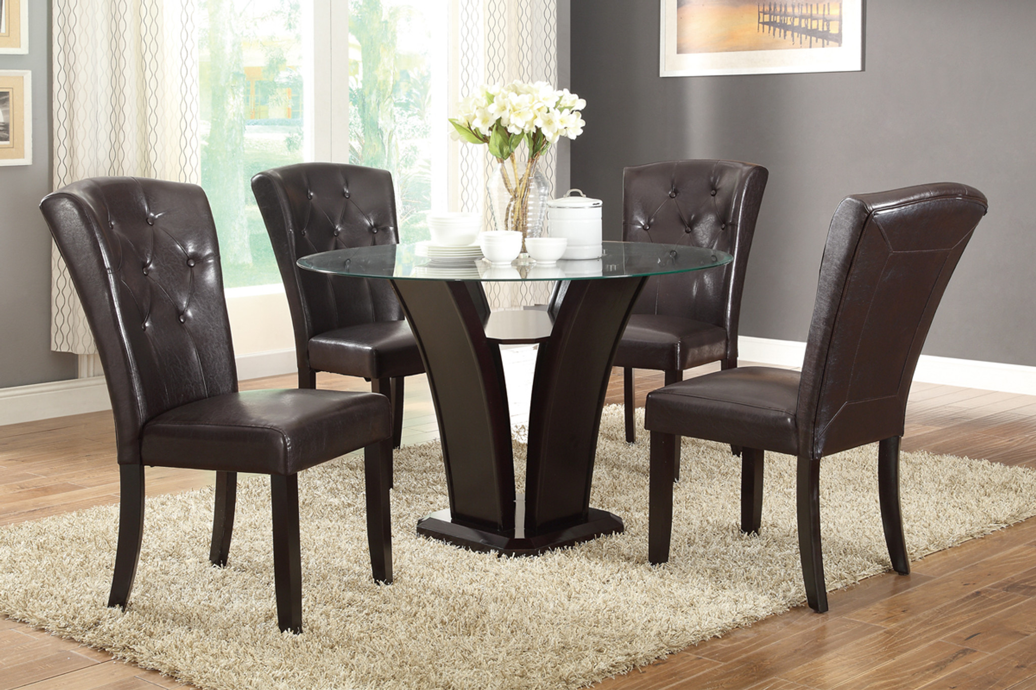 Picture of: 5 Piece Grandly Design Round Table Dark Espresso Faux Leather Dining Room Set Km Home Furniture