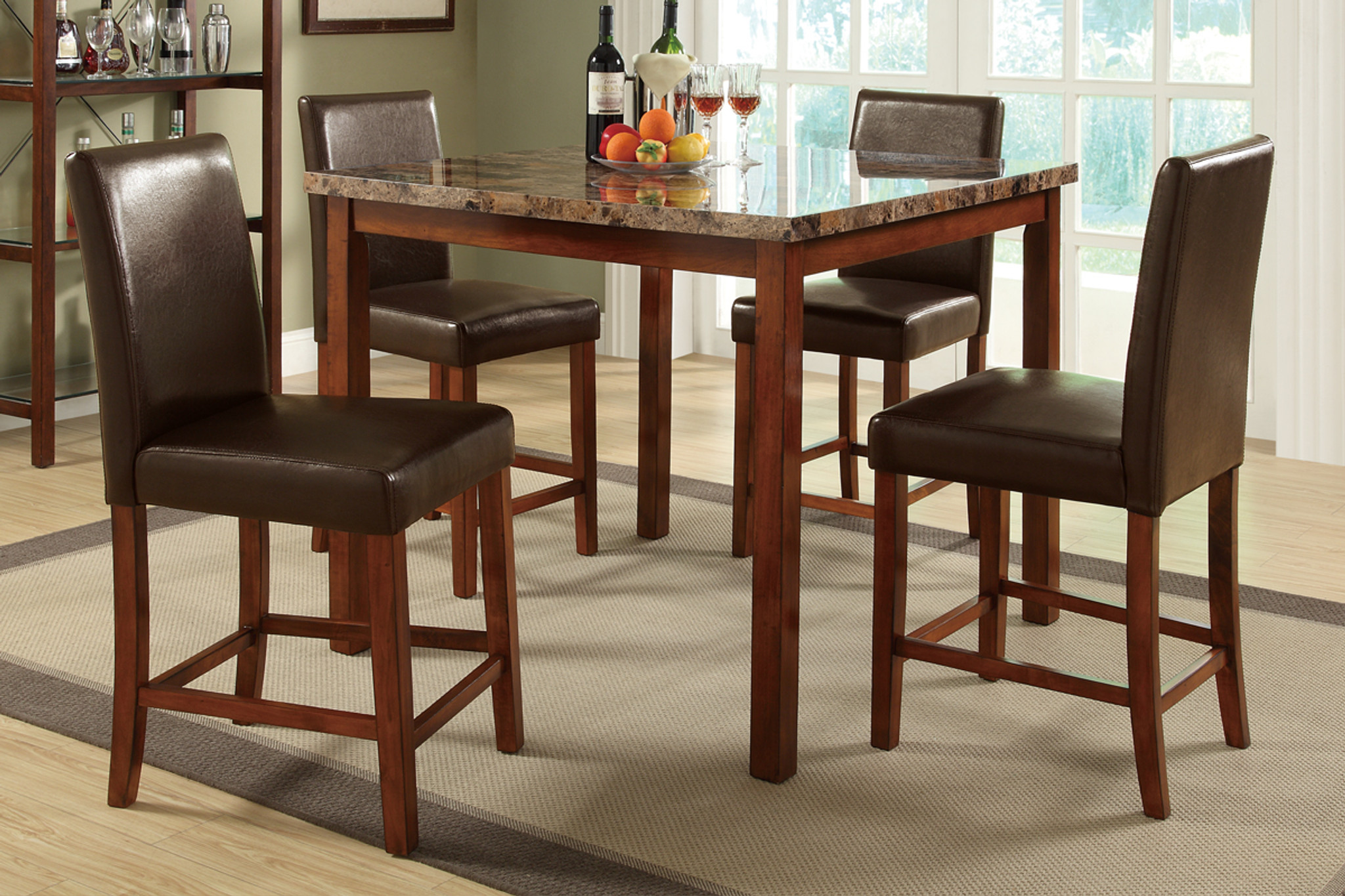 5 Pieces Marble Finished Top Brown Faux Leather Counter Height Set Km Home Furniture