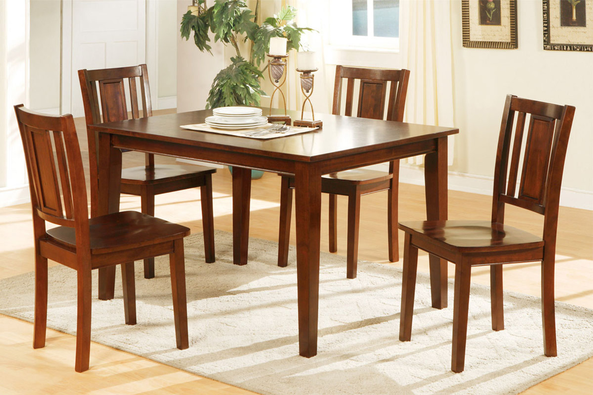 Tremendous 5 Pcs Rectangular Dark Cherry Finish Dining Room Set Caraccident5 Cool Chair Designs And Ideas Caraccident5Info