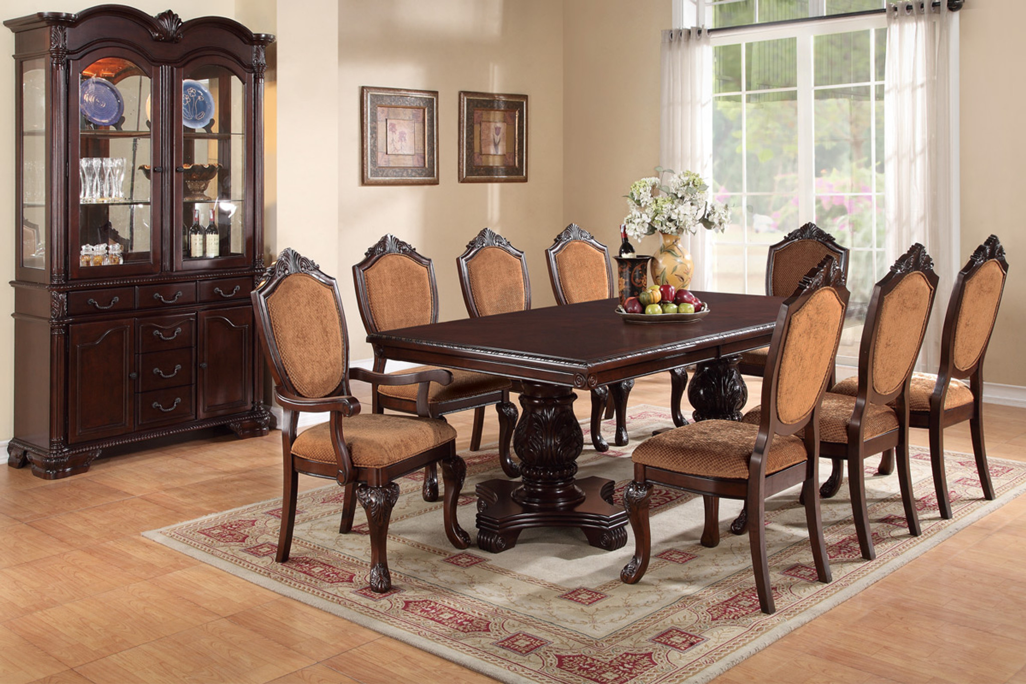 ASTOUNDING CARVED FLORAL ACCENTS 7 PCS FORMAL DINING ROOM SET