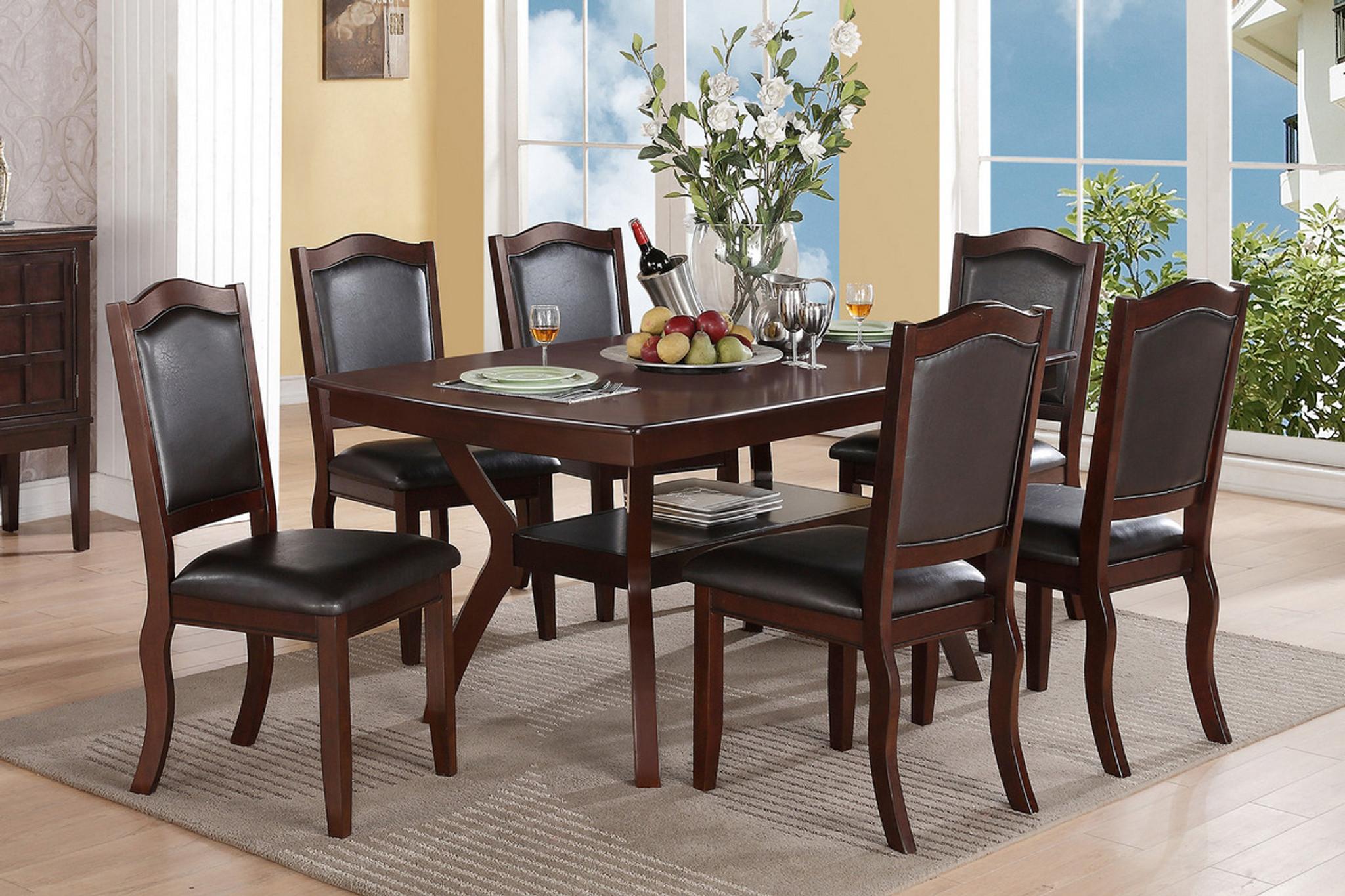Incredible Rectangular Shaped Dark Brown Wood Veneer 7 Pcs Dining Room Set Download Free Architecture Designs Sospemadebymaigaardcom