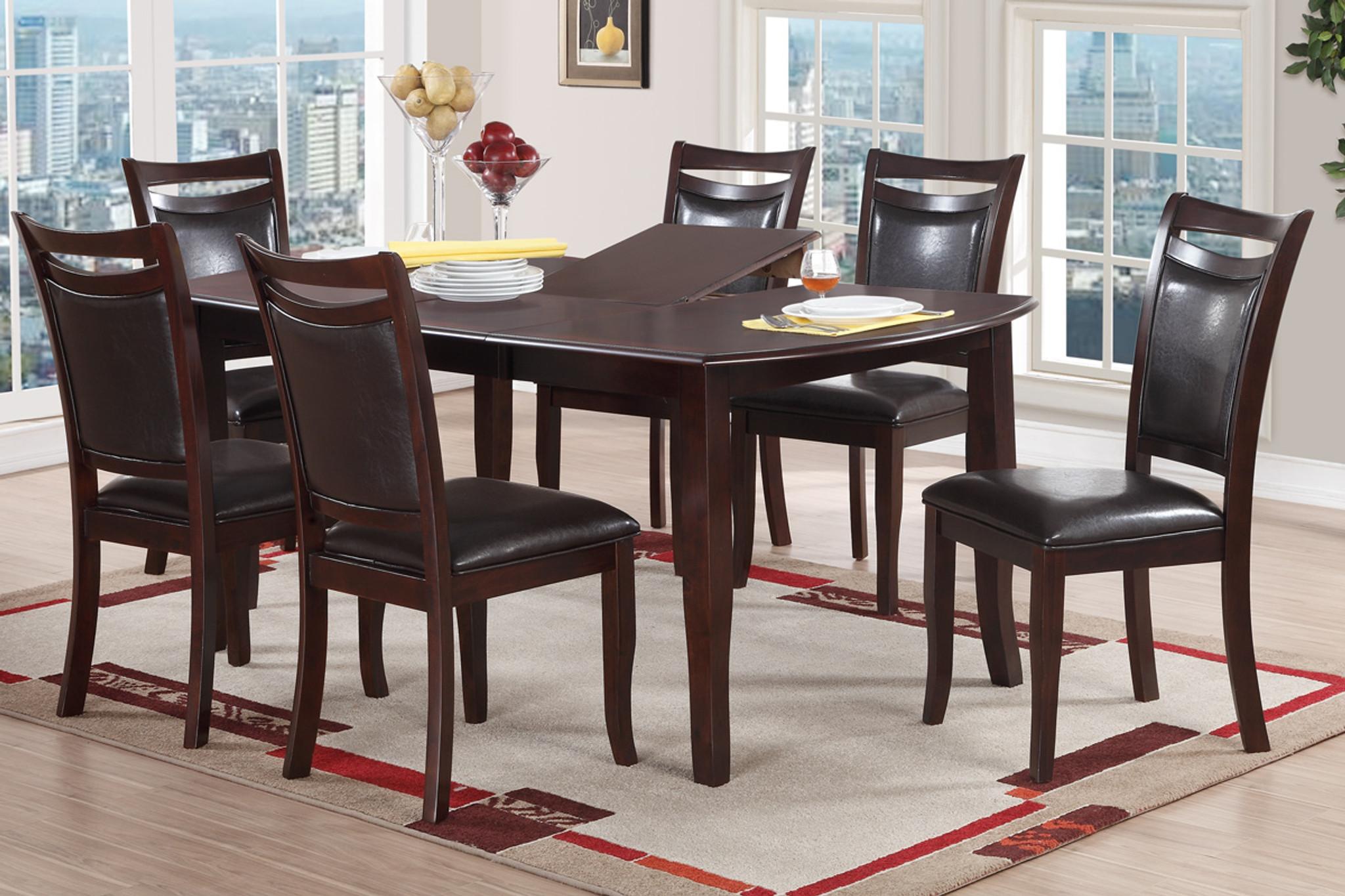 Contemporary Rectangular Dark Brown 7 Pieces Dining Room Set Km Home Furniture