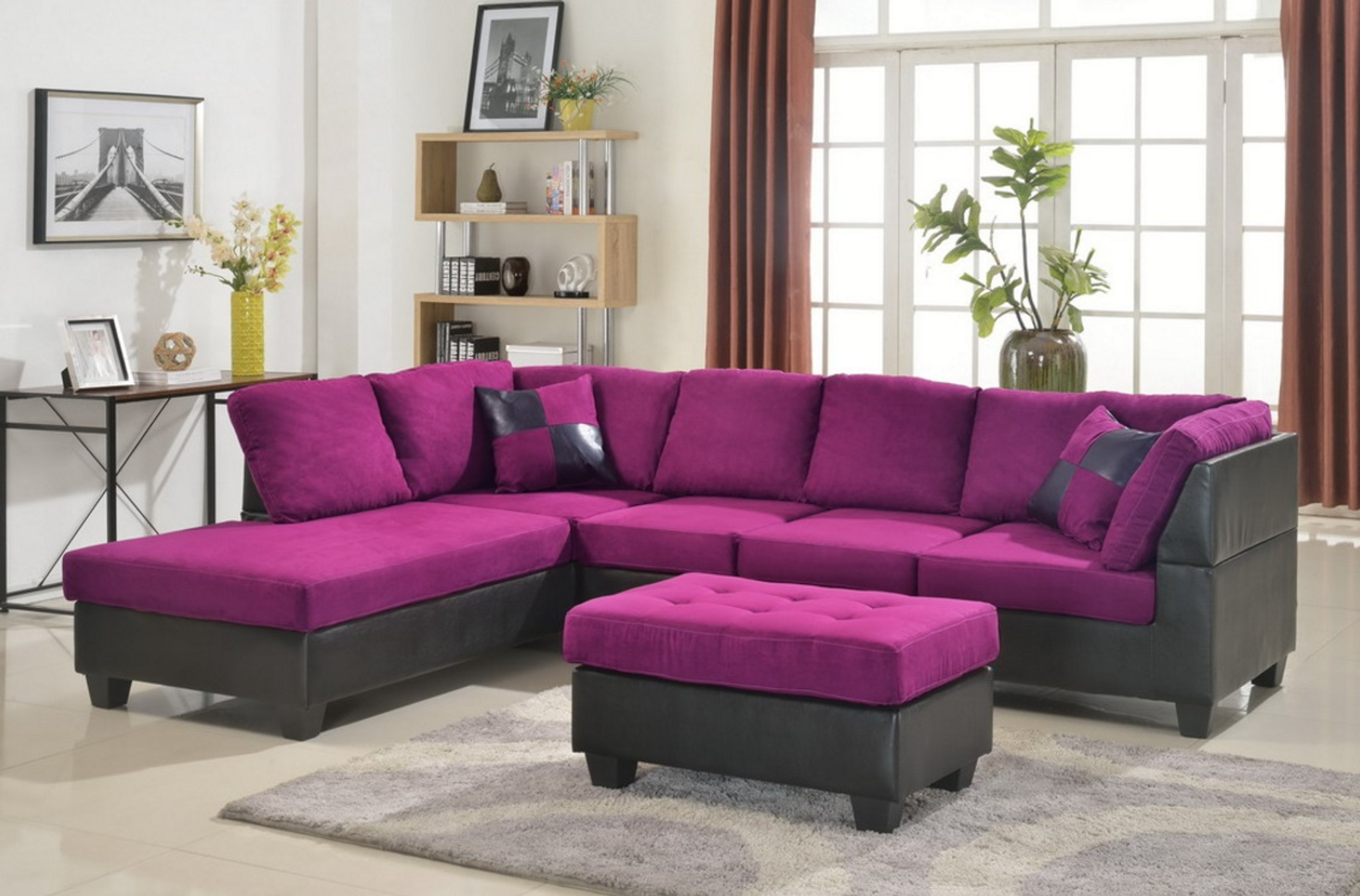Magnificent Modern 2Pcs Sectional In Purple Microfiber And Leather Ibusinesslaw Wood Chair Design Ideas Ibusinesslaworg