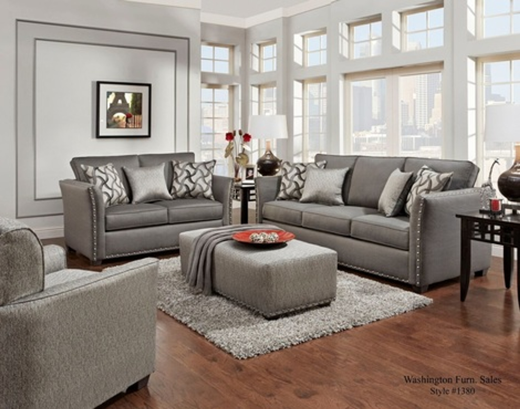 Picture of: 1380ch Washington 2pc Sofa Loveseat Set Charcoal Collection By Happy Home