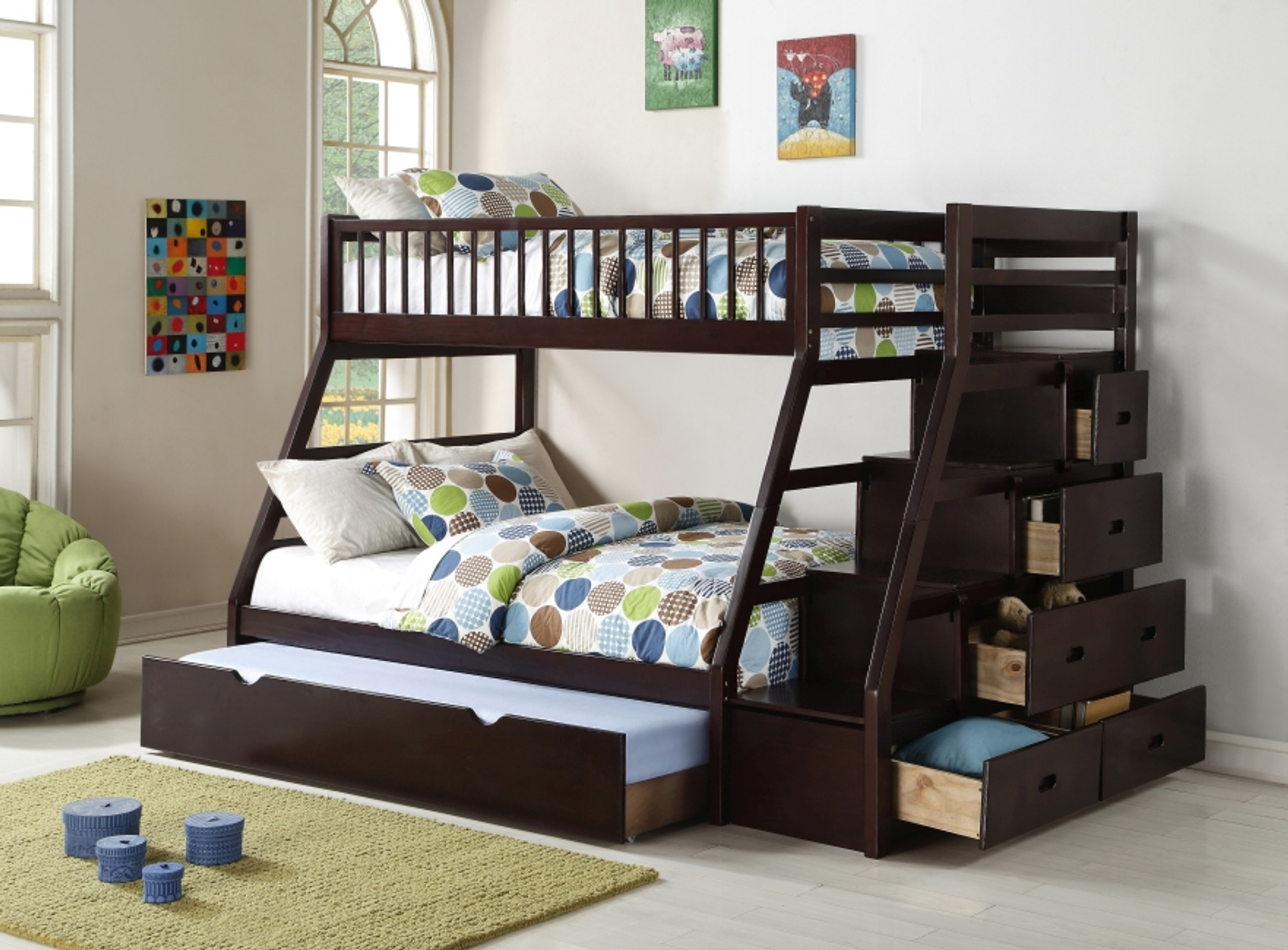 Picture of: Twin Over Full Staircase Bunk Bed With Trundle Km Home Furniture