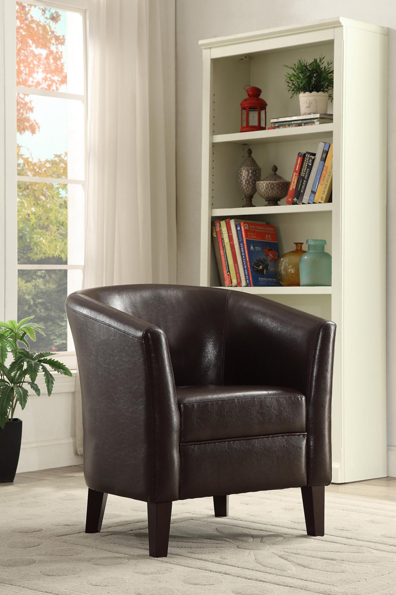 Enjoyable Chocolate Faux Leather Accent Chair Creativecarmelina Interior Chair Design Creativecarmelinacom