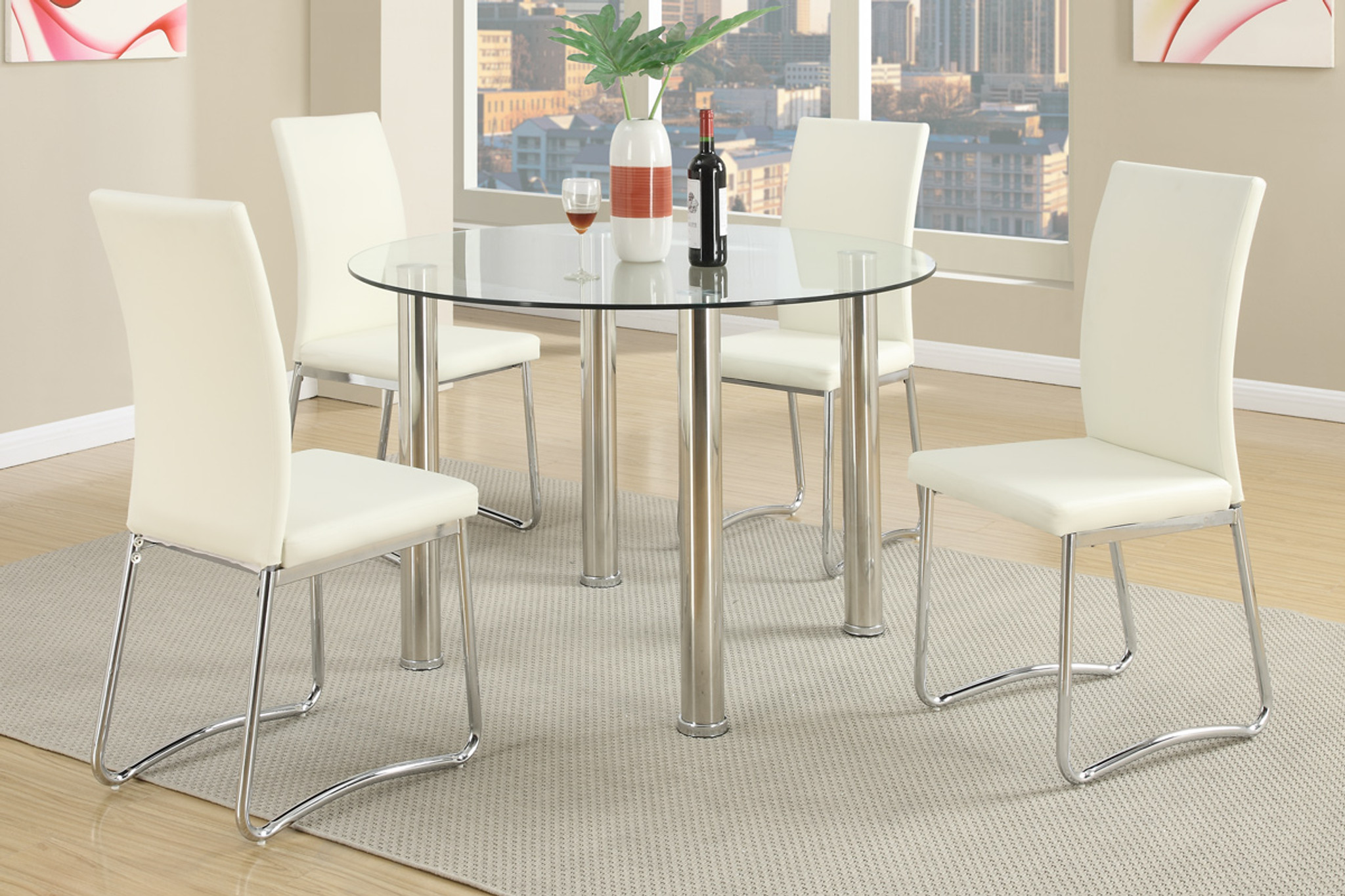 5 pcs modernround dining table set in white  km home