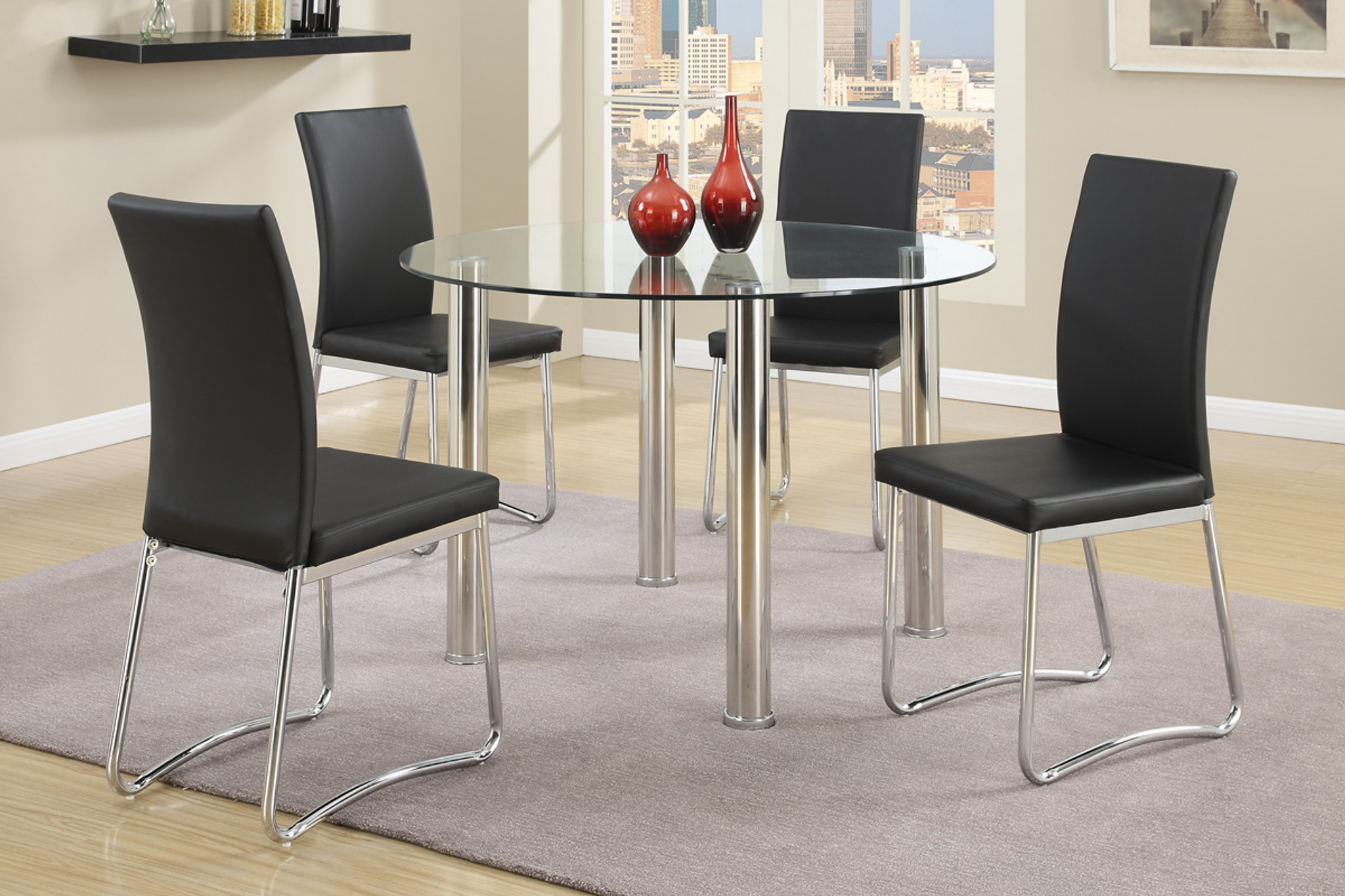 Picture of: 5 Pcs Modern Round Dining Table Set In Black Km Home Furniture