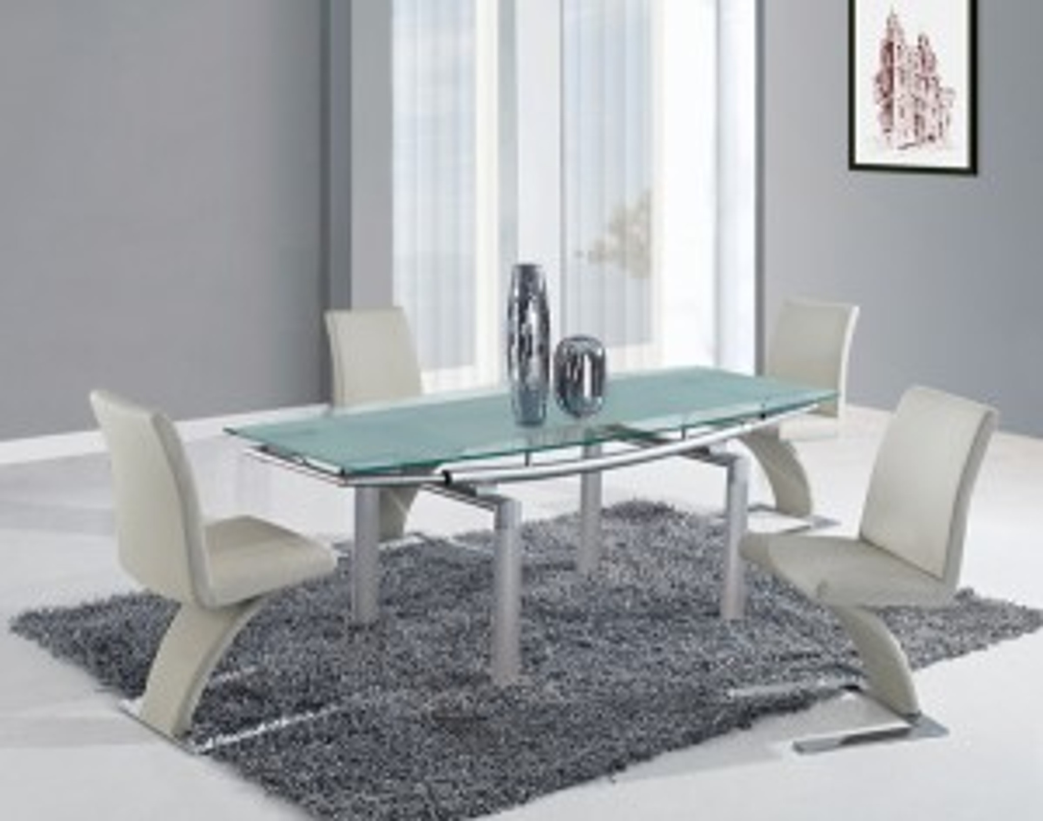 Silver And Beige Contemporary 5 Pcs Dining Room Set Km Home Furniture