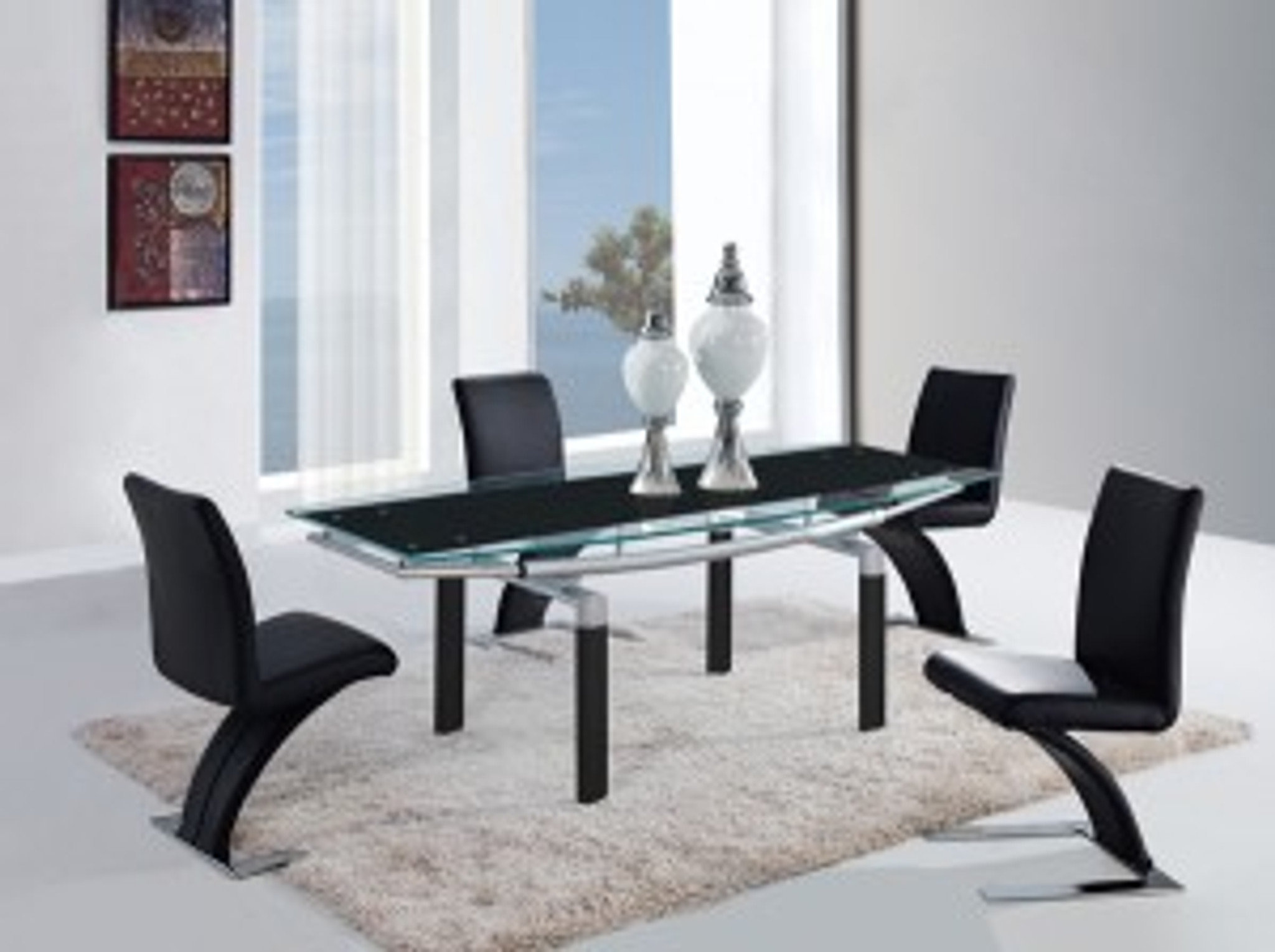 Silver And Black Contemporary 5 Pcs Dining Room Set Km Home Furniture