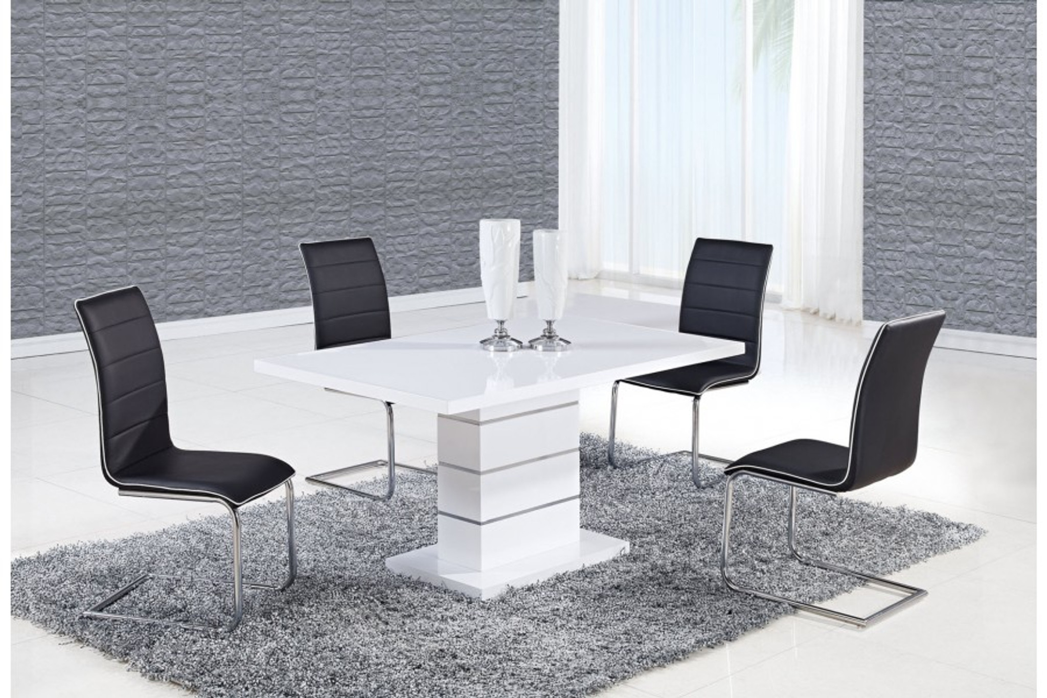 Merveilleux ALEXIA 5 PCS CONTEMPORARY SET 4 BLACK CHAIRS AND WHITE MODERN TABLE   Kassa  Mall Home Furniture