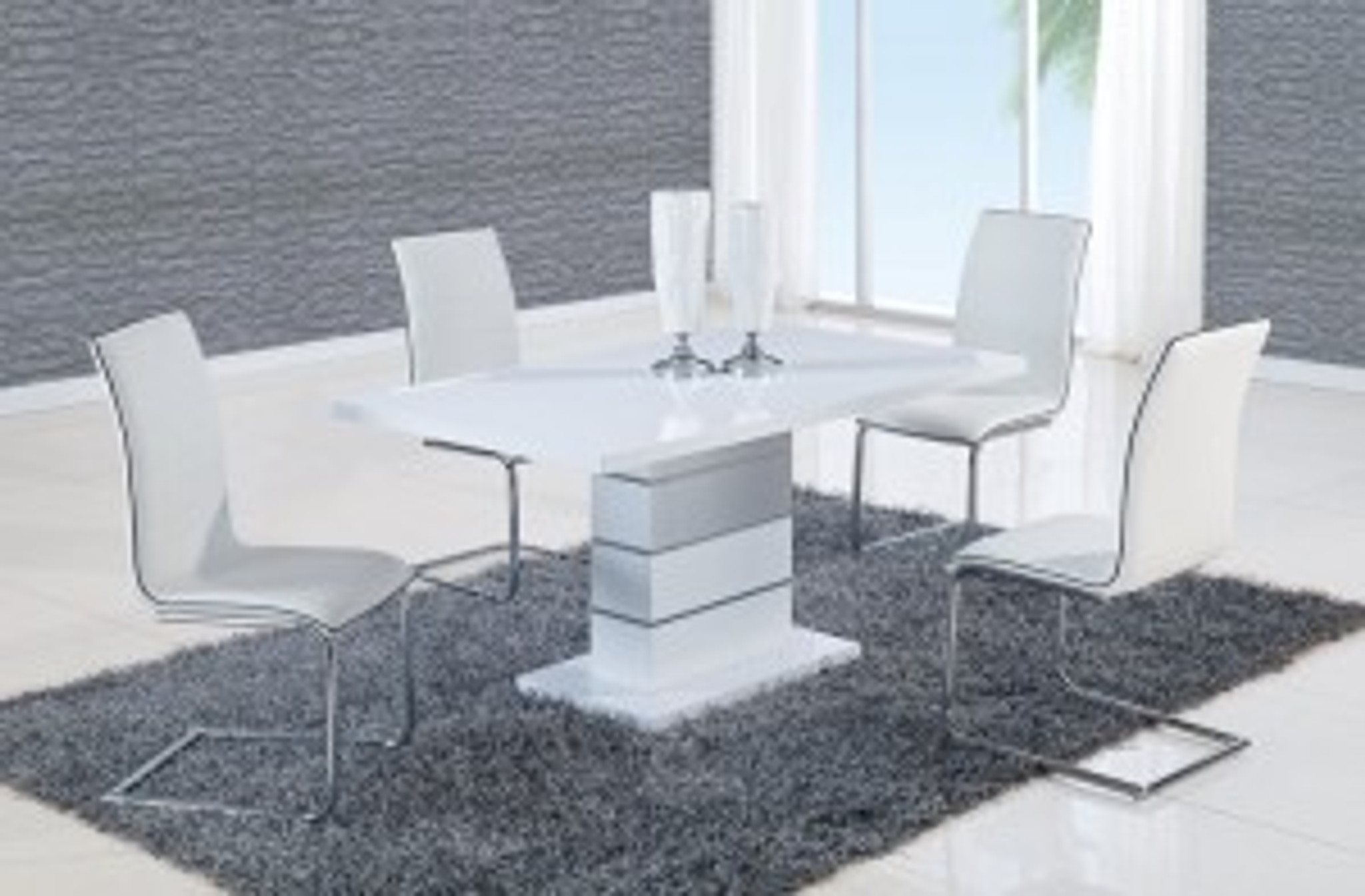 Alexia 5 Pcs Contemporary Set 4 White Chairs And White Modern Table Km Home Furniture