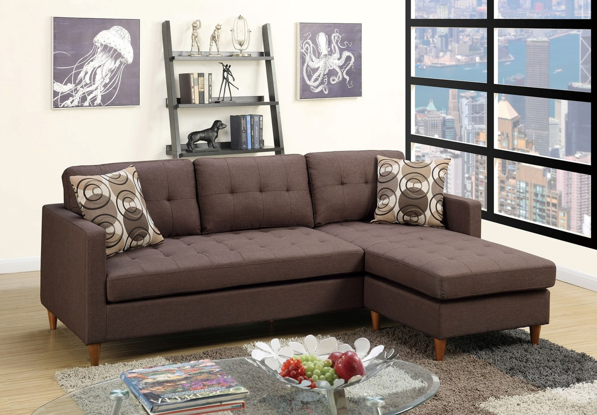 Awe Inspiring 2Pc Rina Reversible Sectional In Chocolate Unemploymentrelief Wooden Chair Designs For Living Room Unemploymentrelieforg