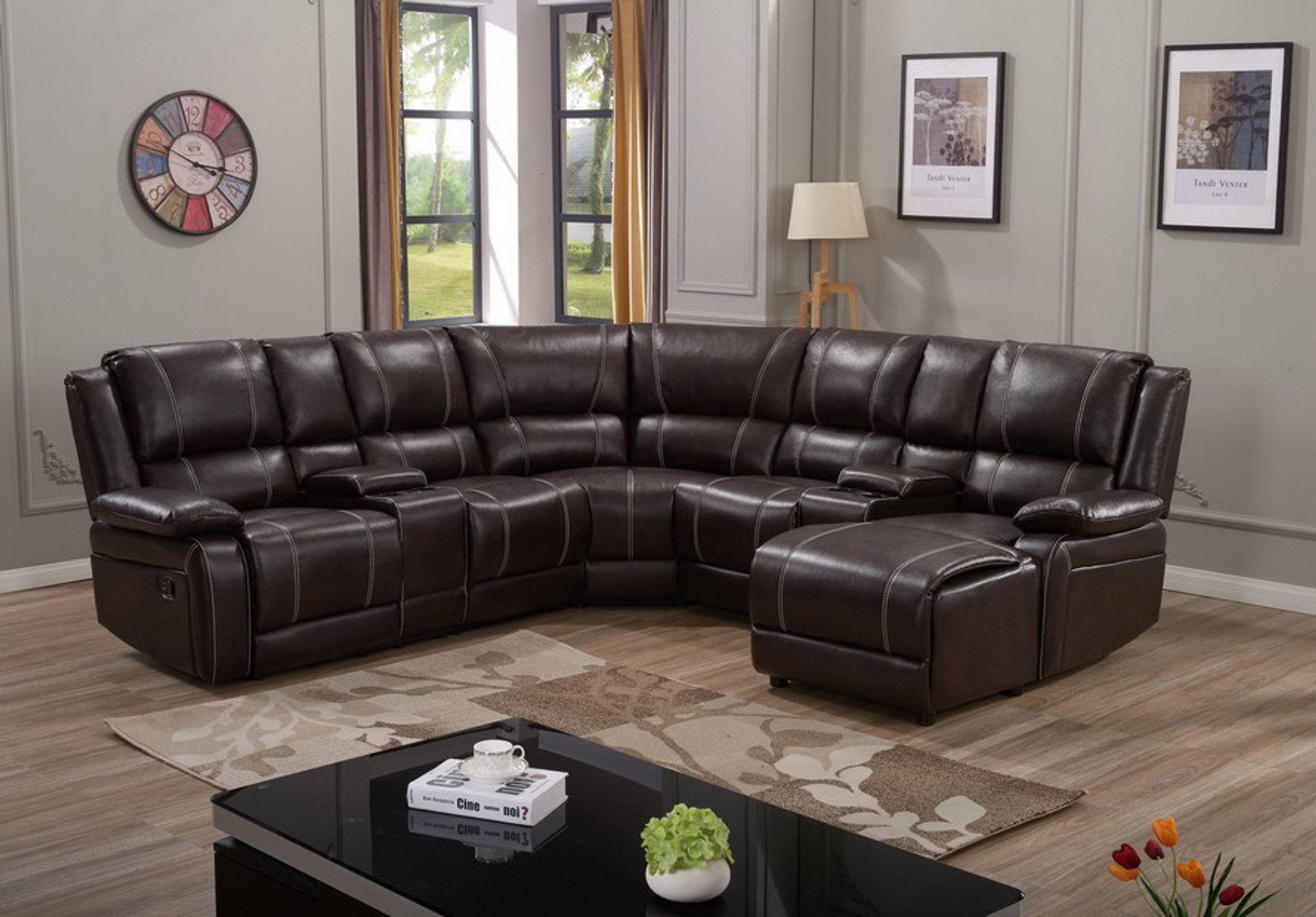 MARCUS 5 PCS COMPLETE BROWN ESPRESSO LEATHER SECTIONAL RECLINER ...