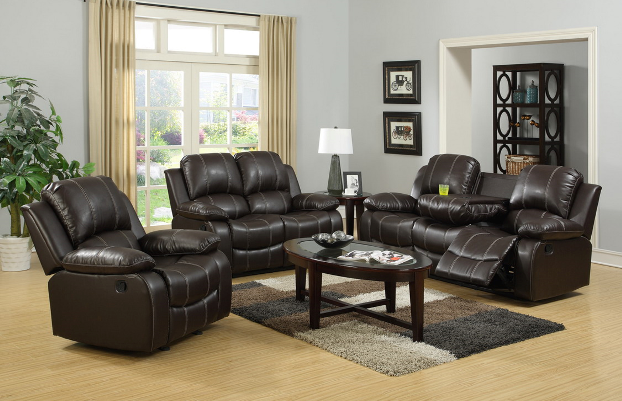Miraculous 2Pc Palermo Leather Recliner Sofa And Loveseat Espresso Machost Co Dining Chair Design Ideas Machostcouk