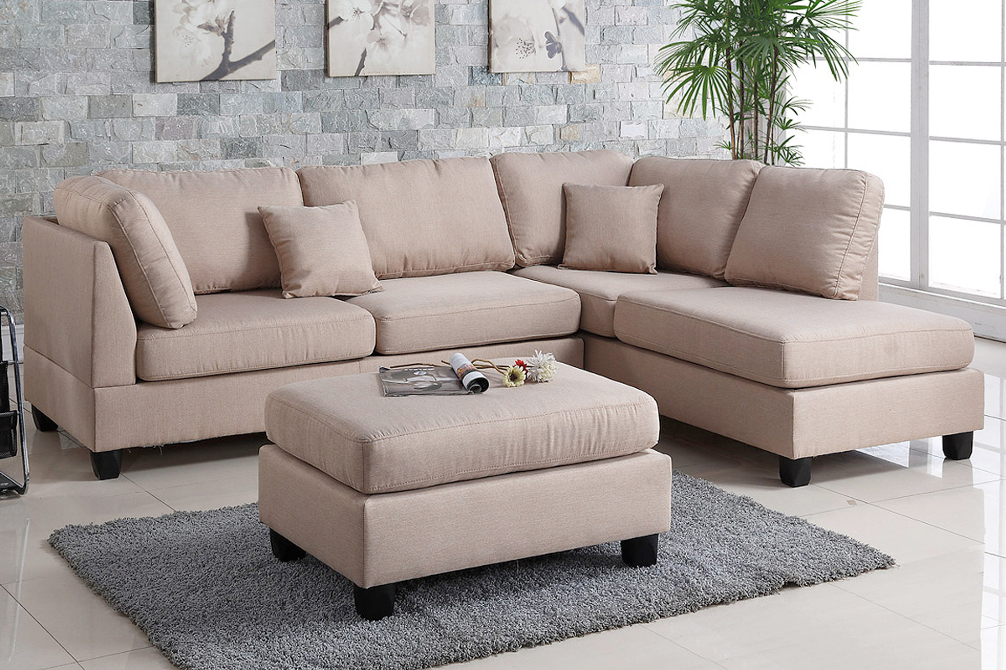 3PC LANA SECTIONAL WITH OTTOMAN IN SAND LINEN