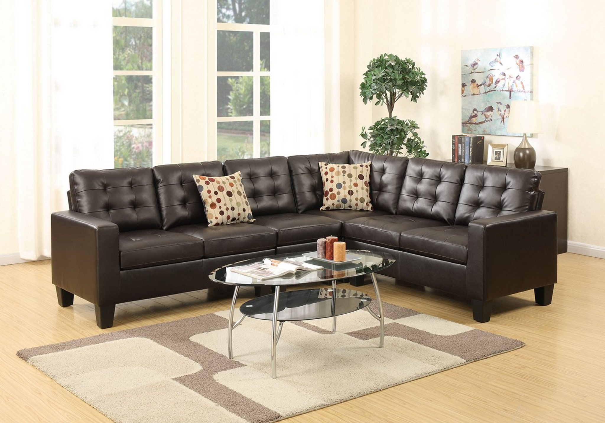 4-Pcs MODULAR SECTIONAL SOFA SET W/ ARMSLESS CHAIR & 2 ACCENT PILLOWS  UPHOLSTERED IN ESPRESSO LEATHER