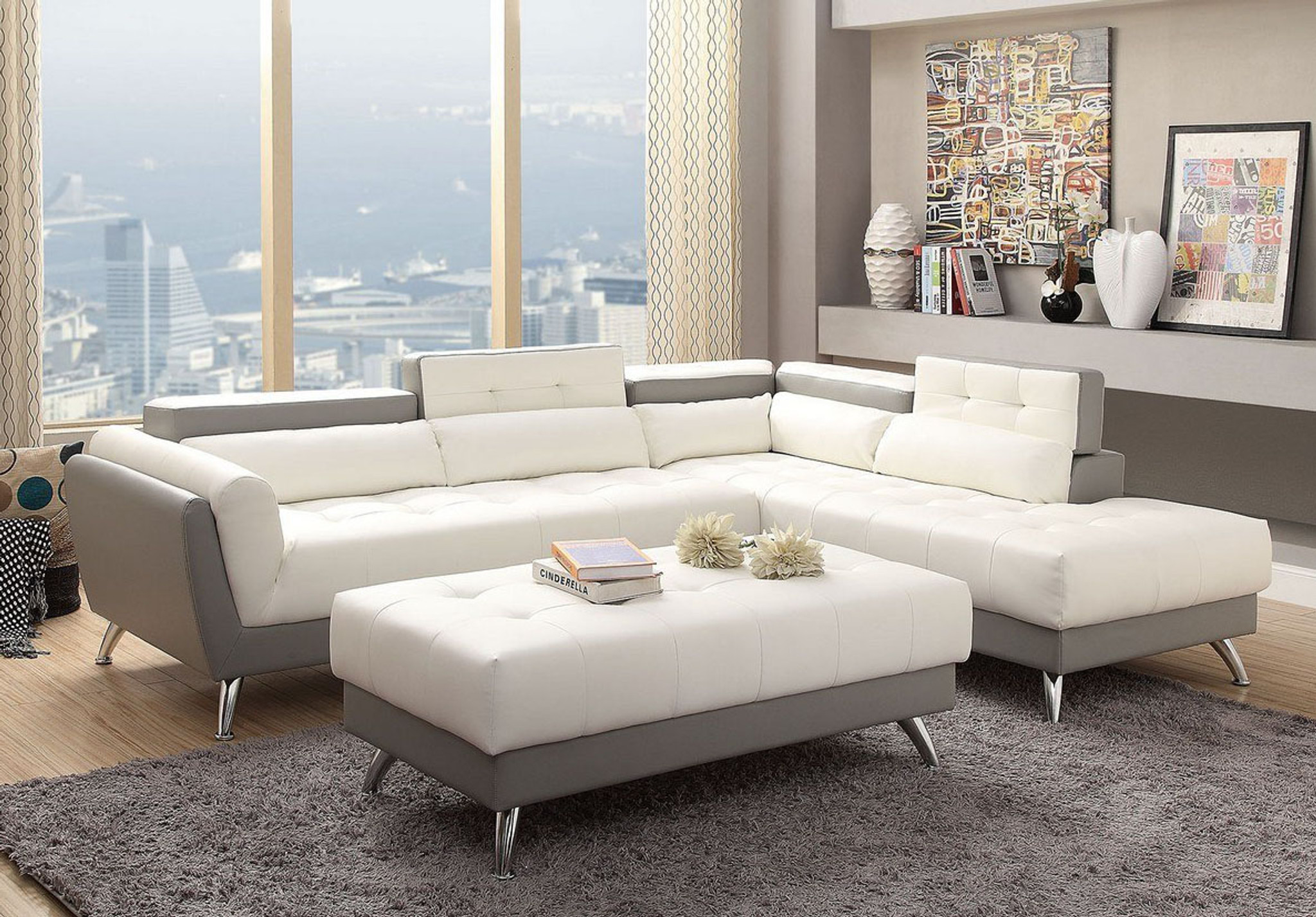 Kassa Mall Home Furniture F6979 Modern Wide Plush Seating 2 Pcs Sectional In White Light Grey Leather Storage On Corner Back