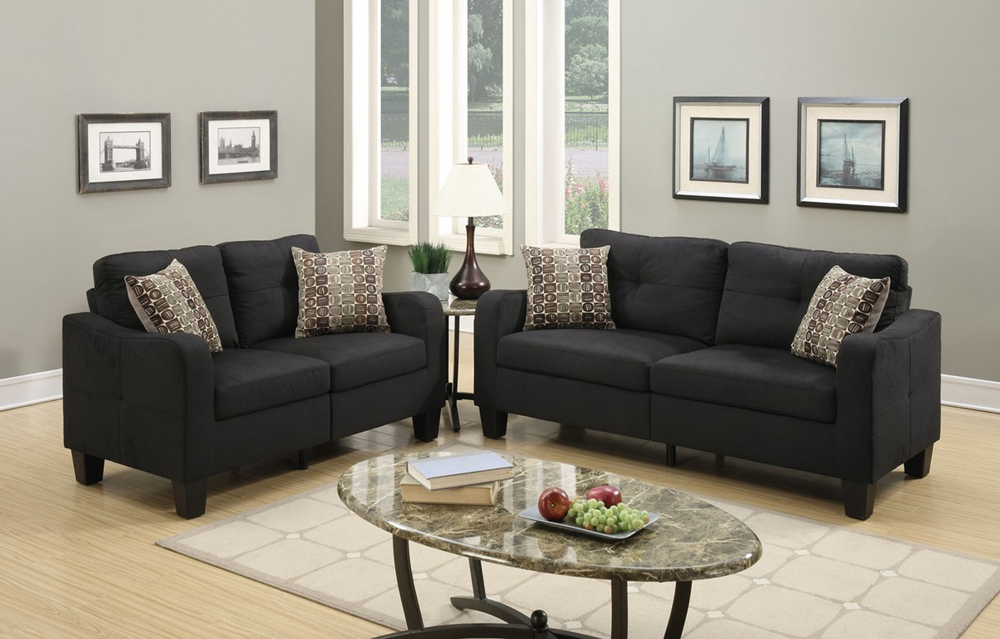 Picture of: Kassa Mall Home Furniture F6922 Loveseat Sofa Set With Four Accent Pillows And In Black Linen