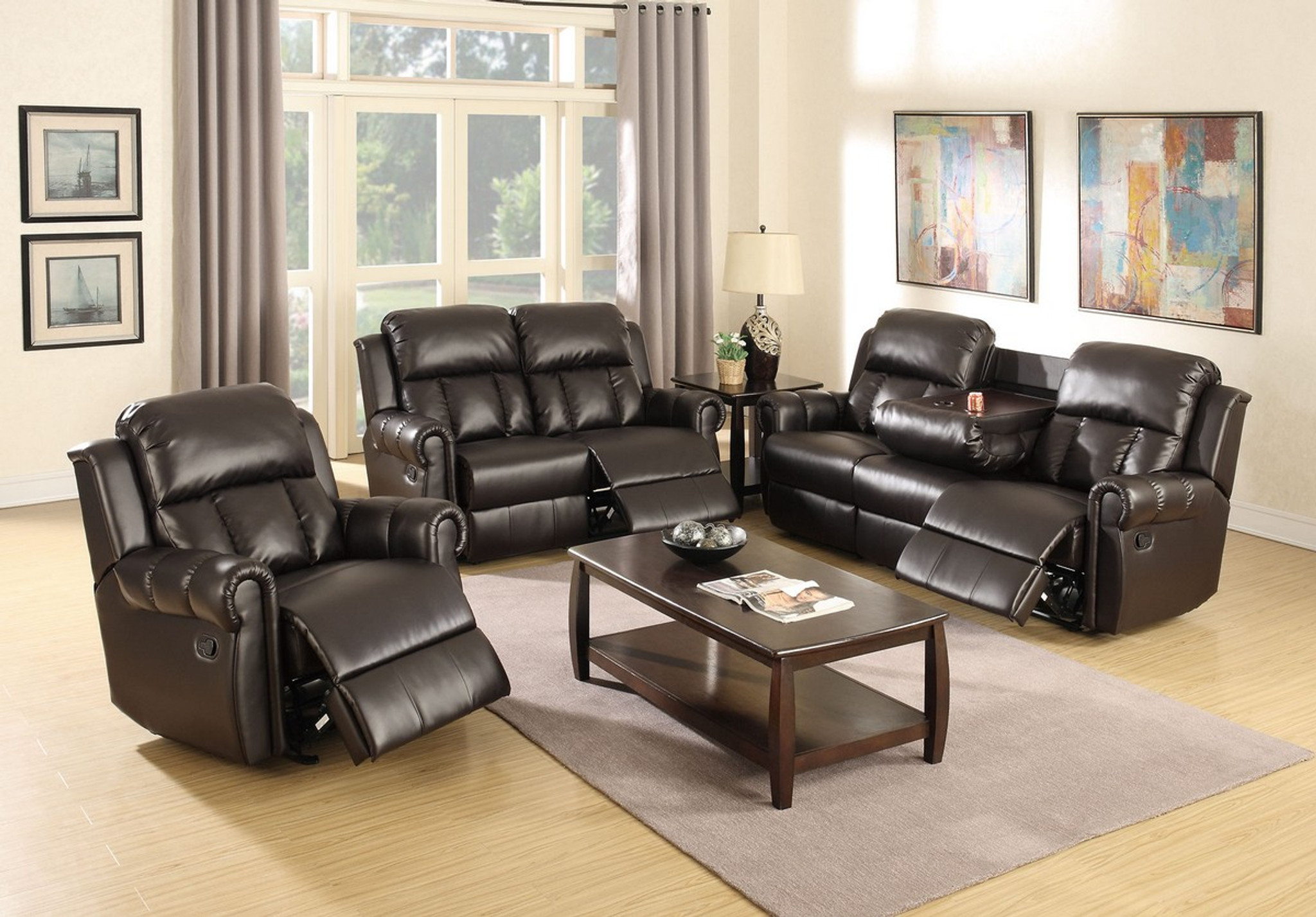 Picture of: Kassa Mall Home Furniture 3pcs Set Recliner Loveseat Sofa Upholsetered In Espresso Bonded Leather