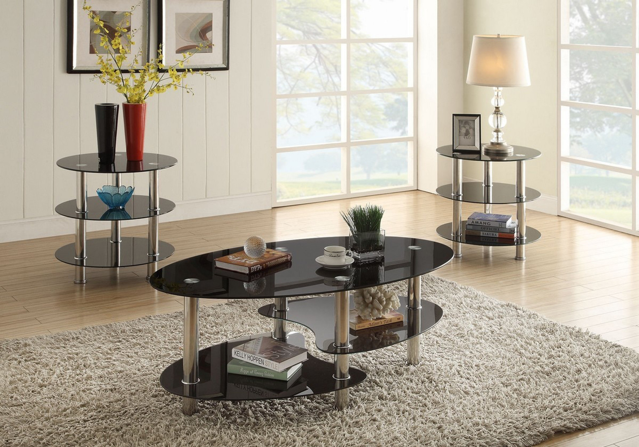 - KASSA MALL HOME FURNITURE - F3054 - 3PC Tempered Glass Top Coffee