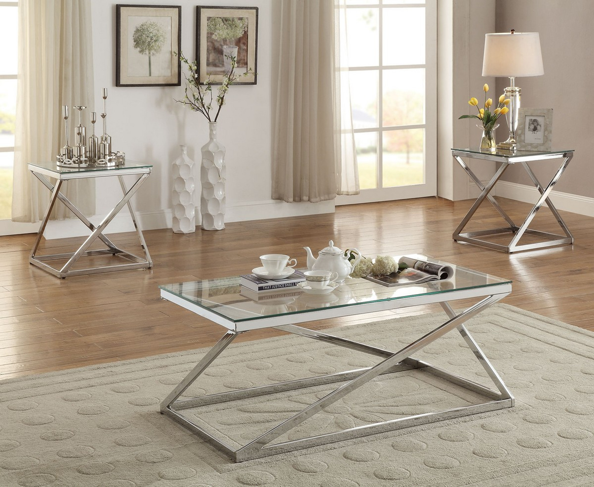 Kassa Mall Home Furniture F3114 3pc Tempered Glass Top Coffee Table End Table Set In Silver Chrome Finish