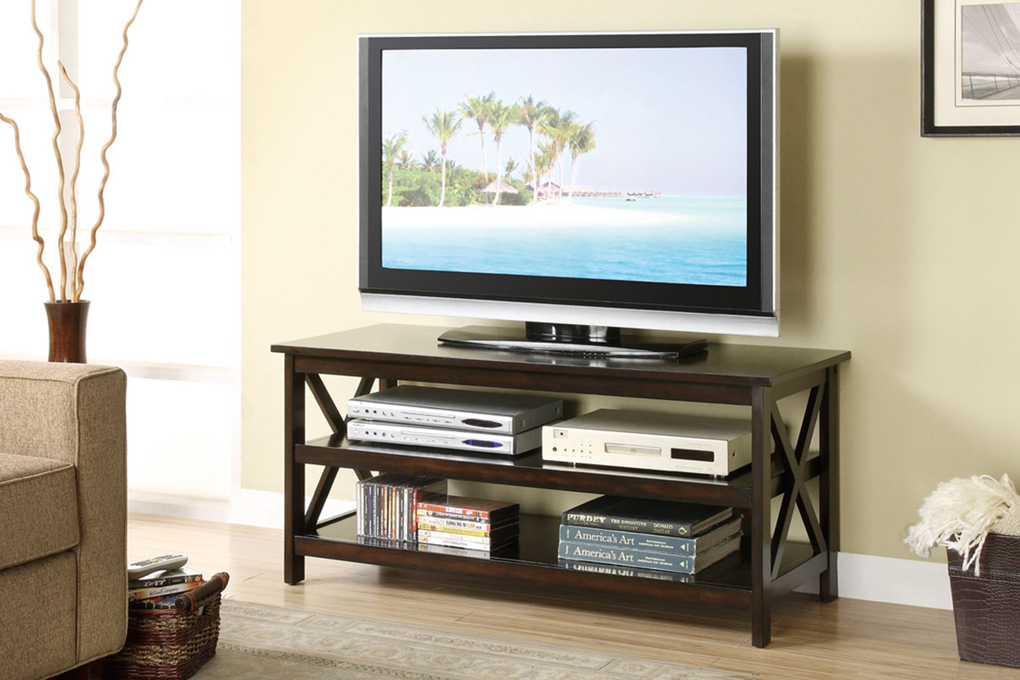 Kassa Mall Home Furniture F4513 Espresso Tv Stand With Shelves
