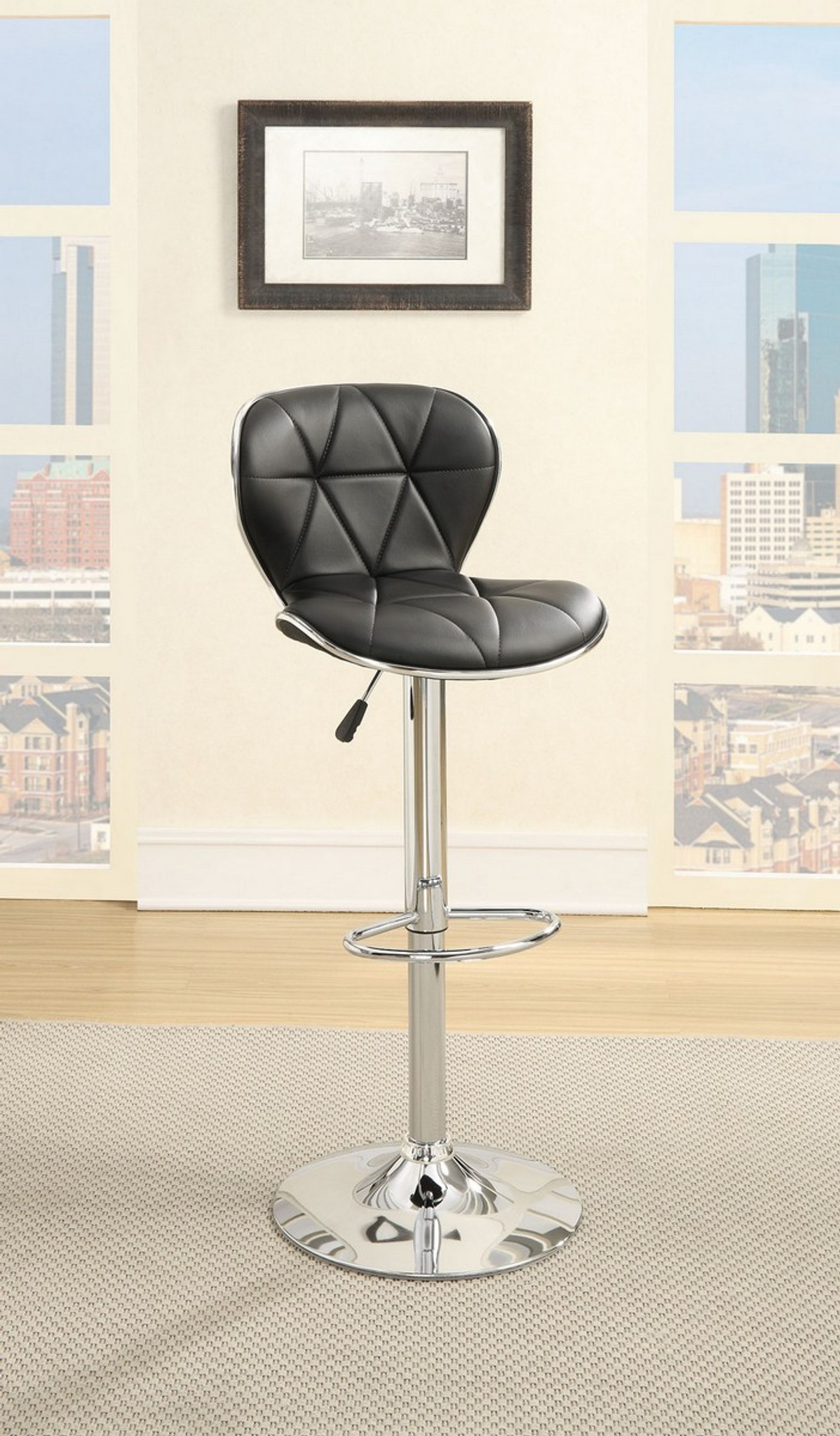 Miraculous Adjustable 2 Pieces Black Leather Bar Stool Pabps2019 Chair Design Images Pabps2019Com