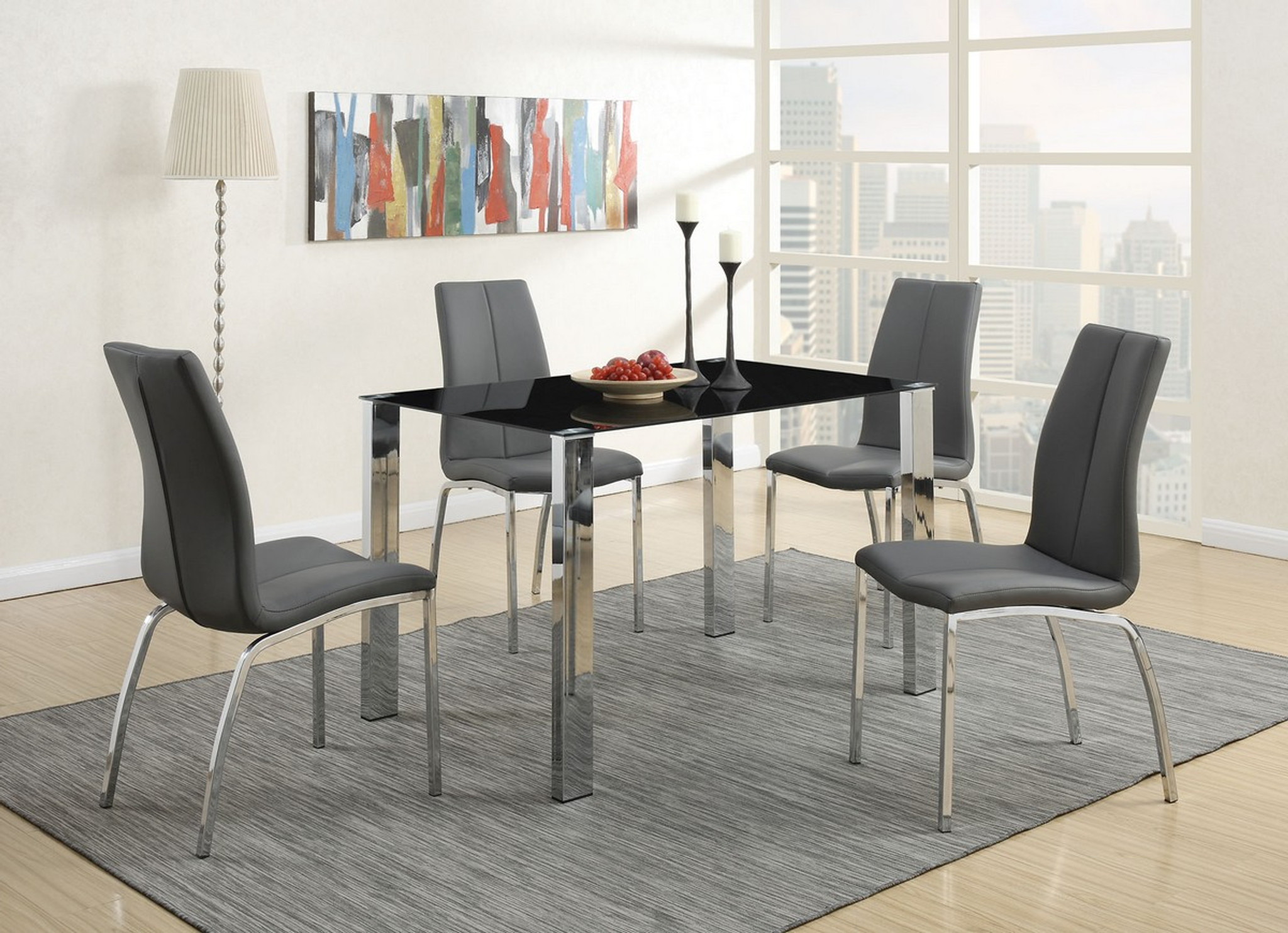Picture of: Kassa Mall Home Furniture F2204 F1438 5 Pcs Grey Modern Dining Room Set With 8mm Tempered Glass Top