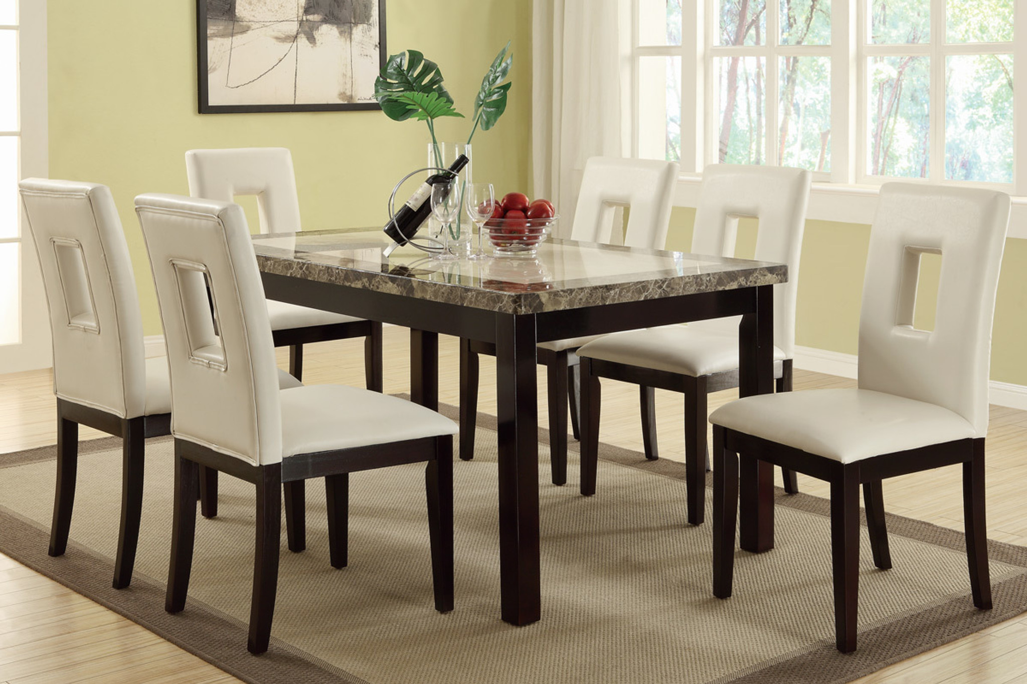 Kassa Mall Home Furniture F2153 F1589 7pcs White Square Shaped Eyelets High Back Dining Room Set