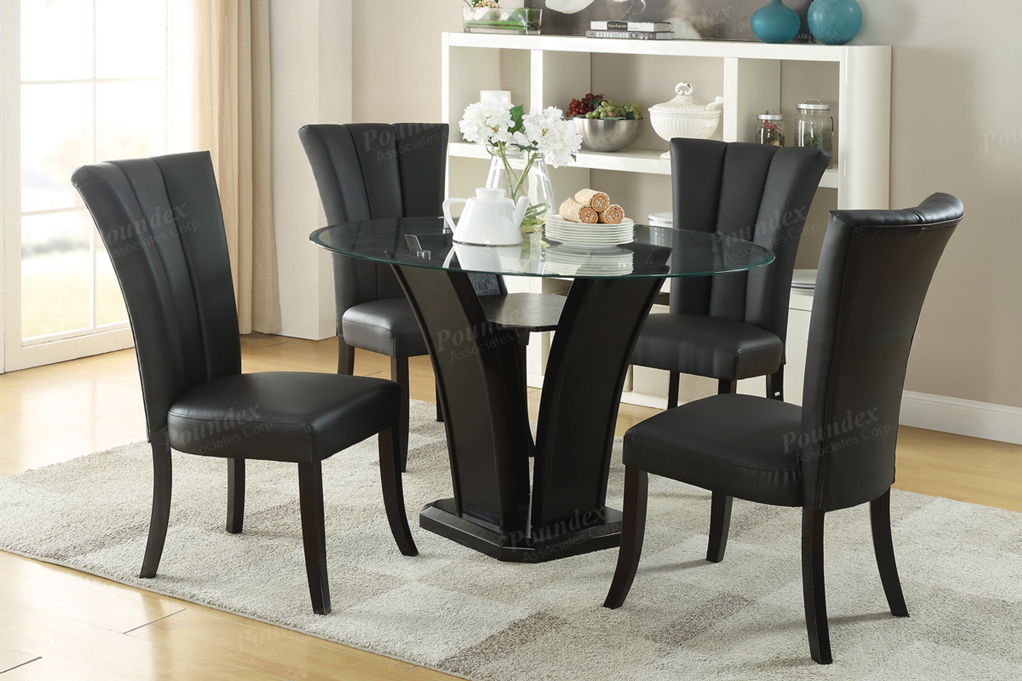 glass dining room furniture | KASSA MALL HOME FURNITURE - F2270 - 5-PIECES ROUND GLASS ...