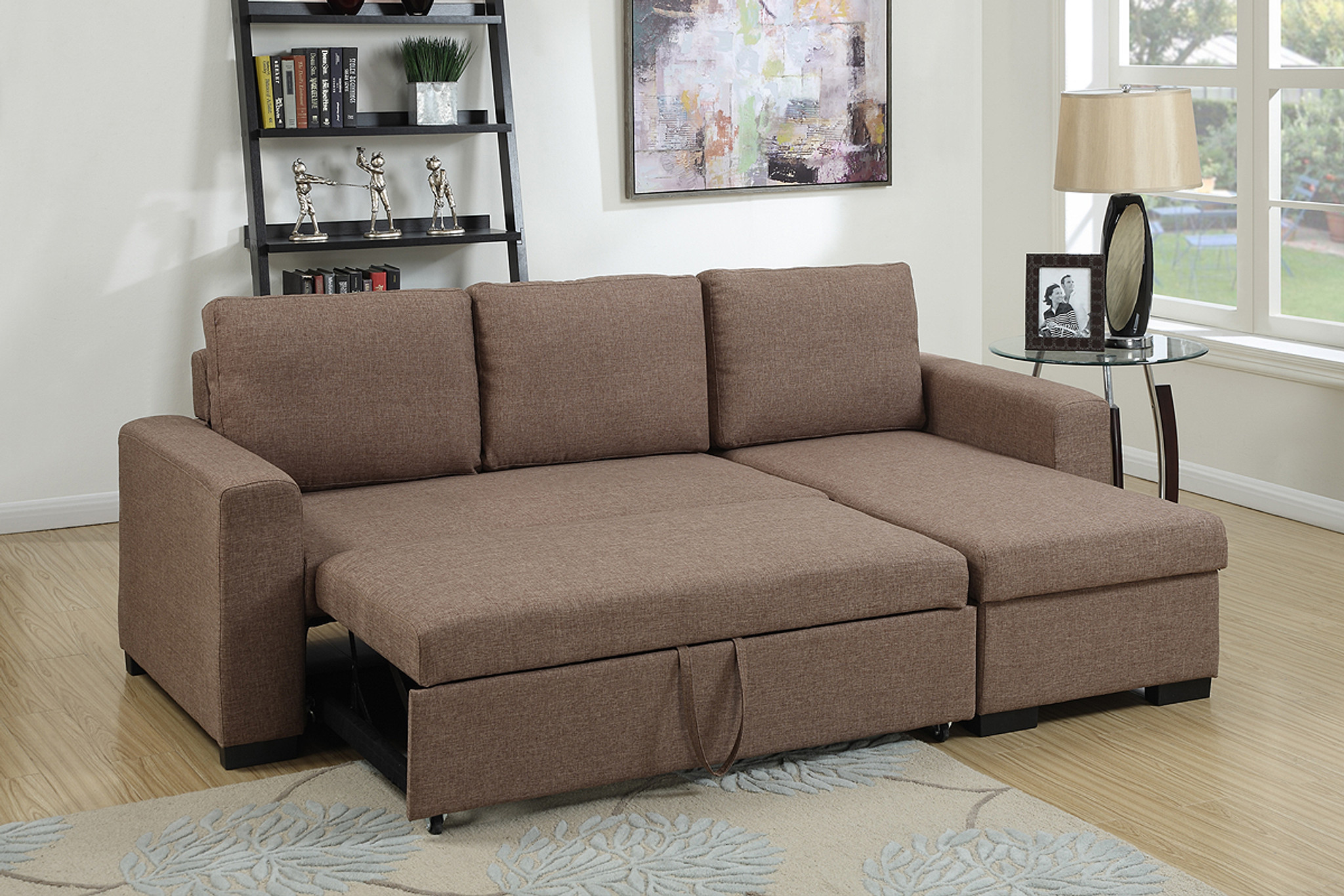 Picture of: Kassa Mall Home Furniture F6932 2pc Convertible Sectional With Pull Out Bed In Light Coffee Linen