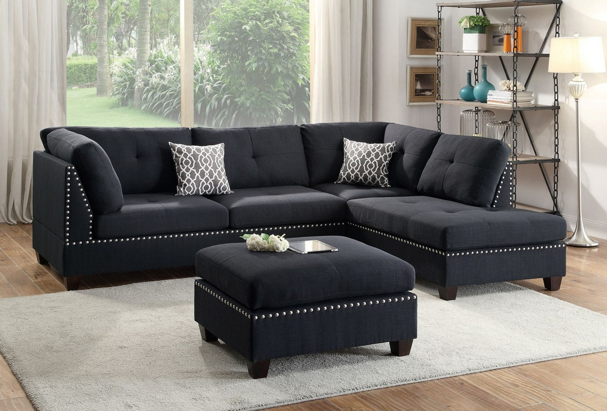 Wondrous Laney Sectional With Ottoman In Black Uwap Interior Chair Design Uwaporg