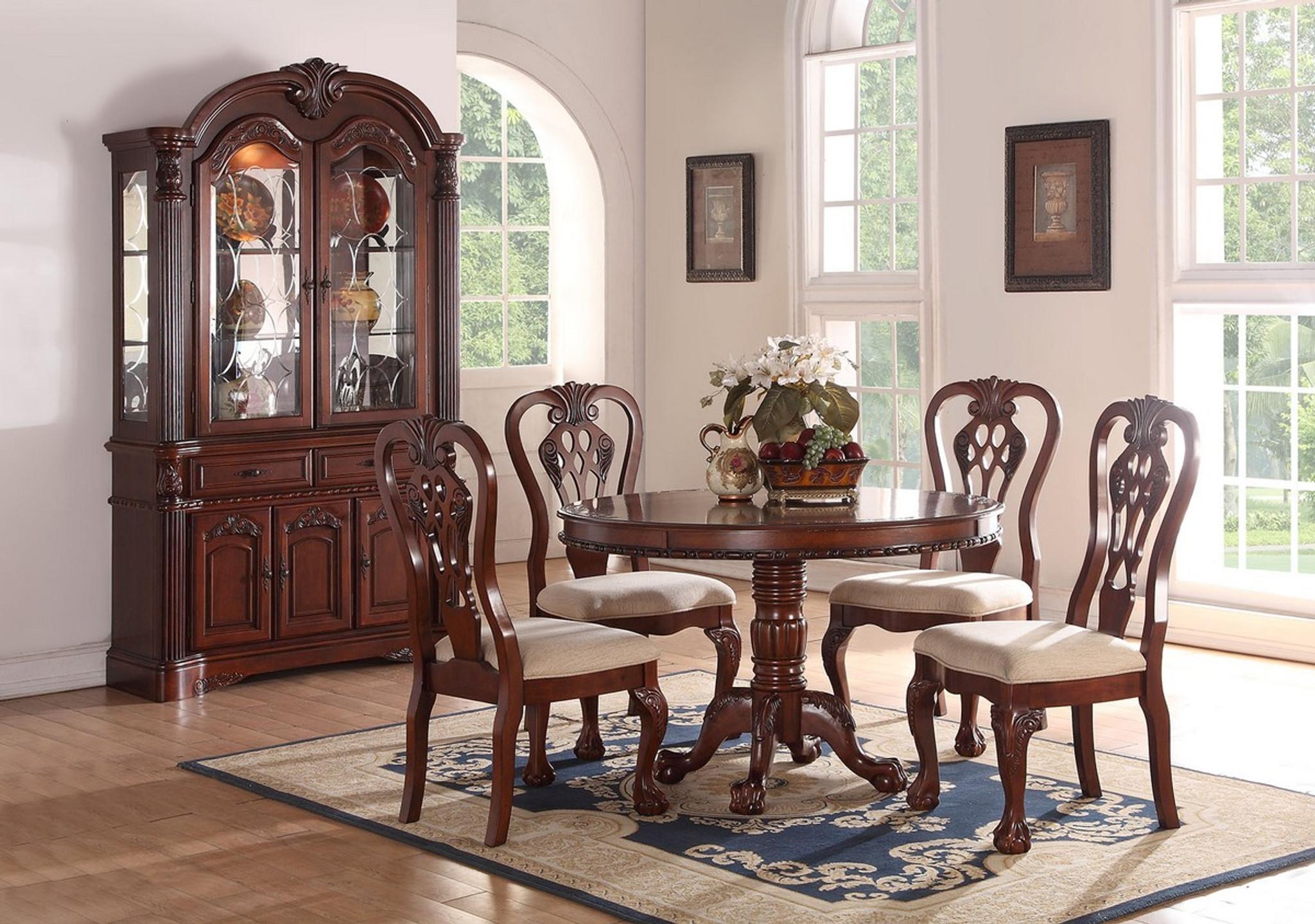 Kassa Mall Home Furniture F2156 F1487 F6057 5pcs Round Dining Table Set In Dark Cherry Wood Finish