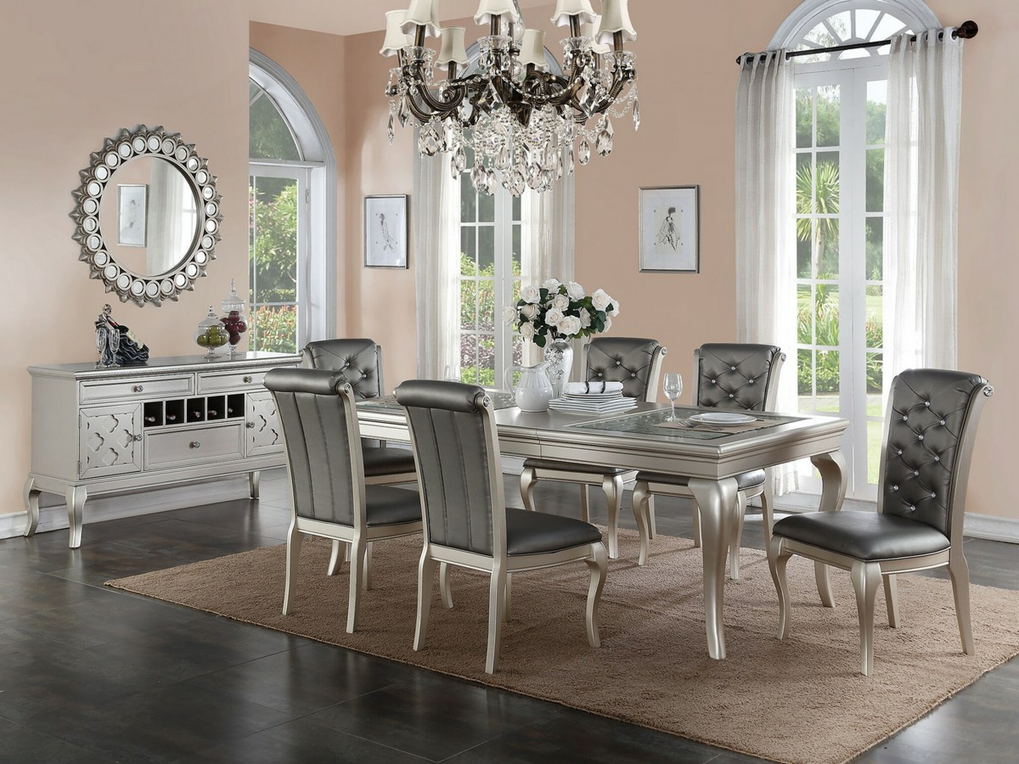 KASSA MALL HOME FURNITURE -  5 PIECE FORMAL DINING TABLE SET