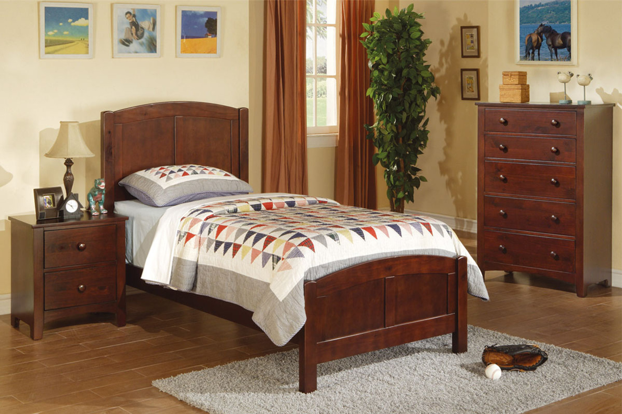 Kassa Mall Home Furniture F9207 F4234 F4235 Twin Bed In Dark Oak Wood Finish
