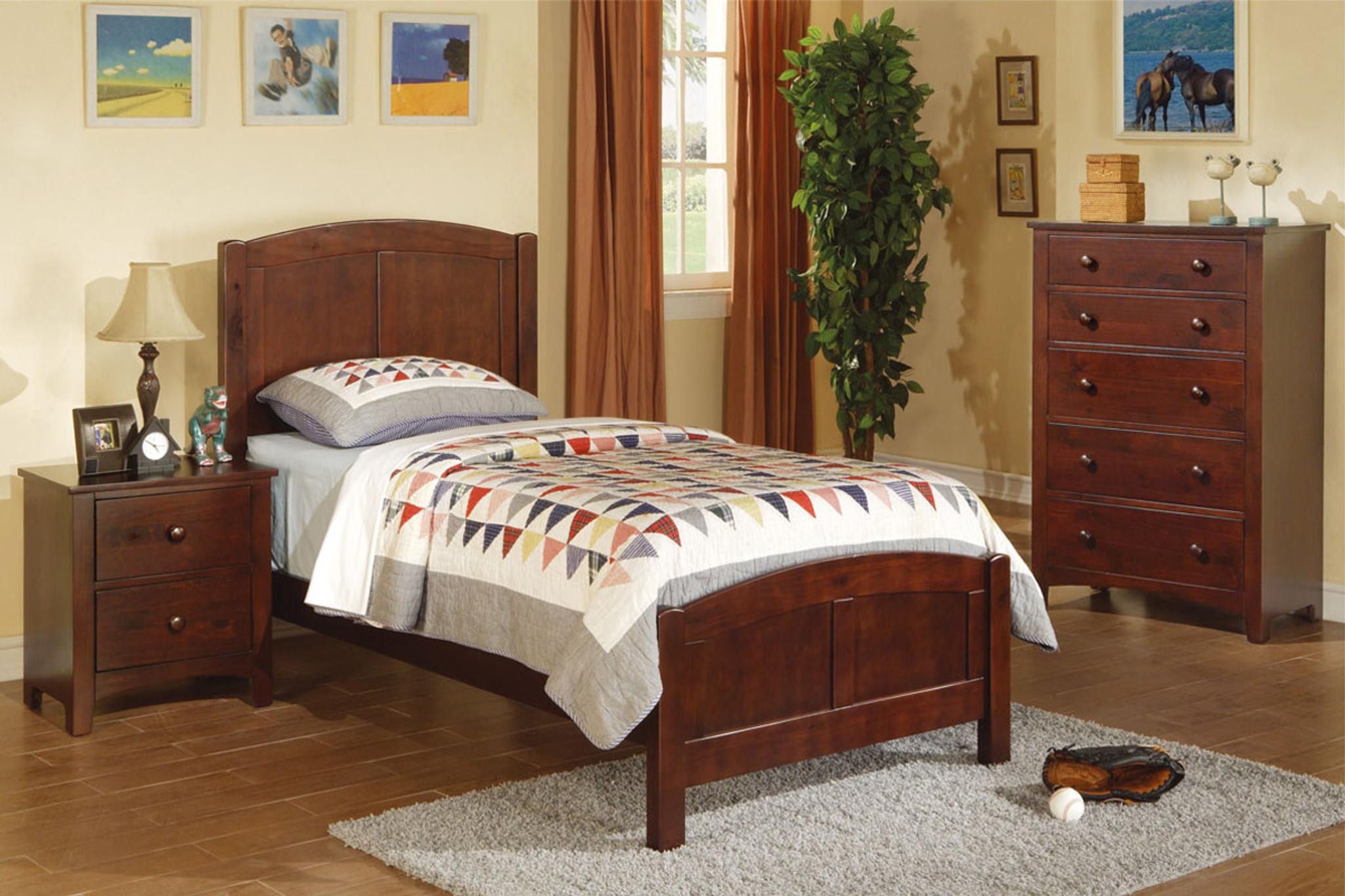 Kassa Mall Home Furniture F9207 F4234 F4235 Twin Bed In Dark Oak Wood Finish