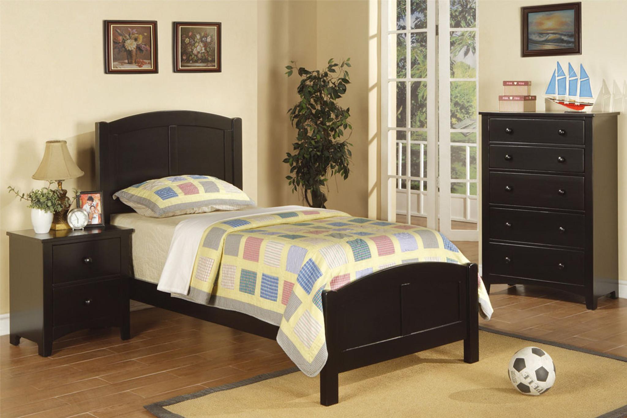 Kassa Mall Home Furniture F9208 F4236 F4237 Twin Bed In Black Wood Finish