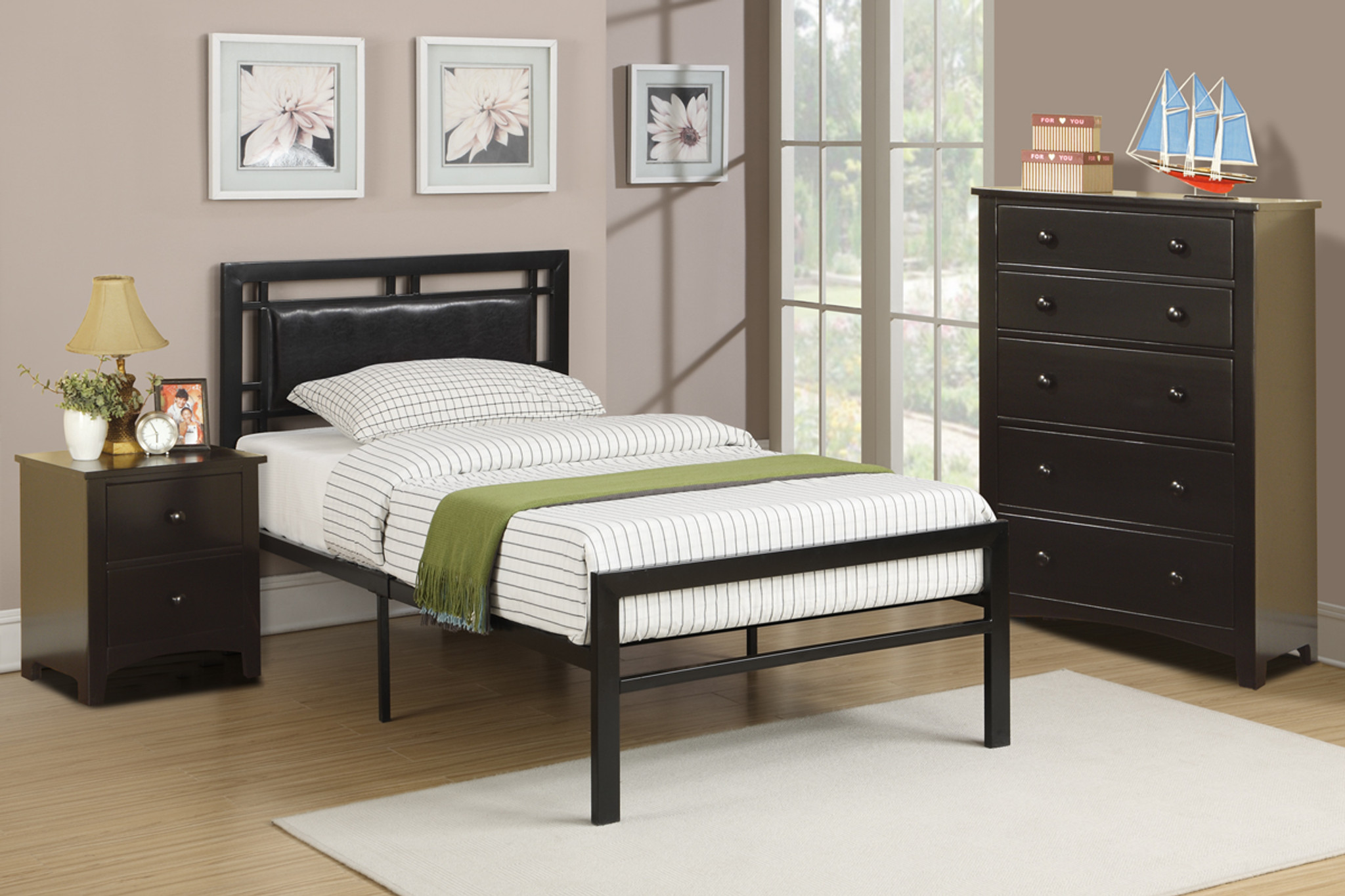 Black Bedroom Metal Platform With Slats Twin Full Bed
