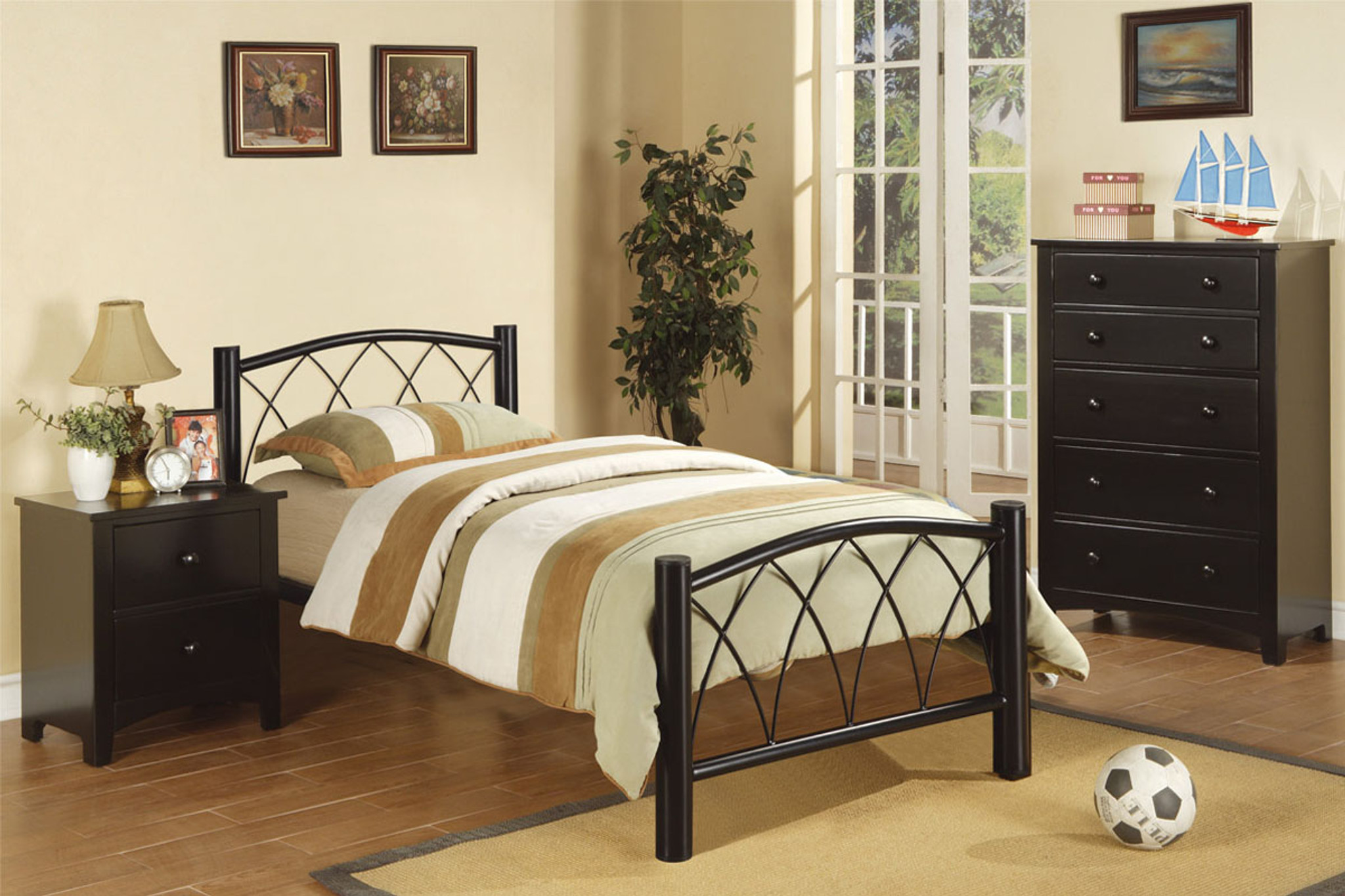Kassa Mall Home Furniture F9010t F9010f F4236 Twin Full Size Bed In Black Metal Frame
