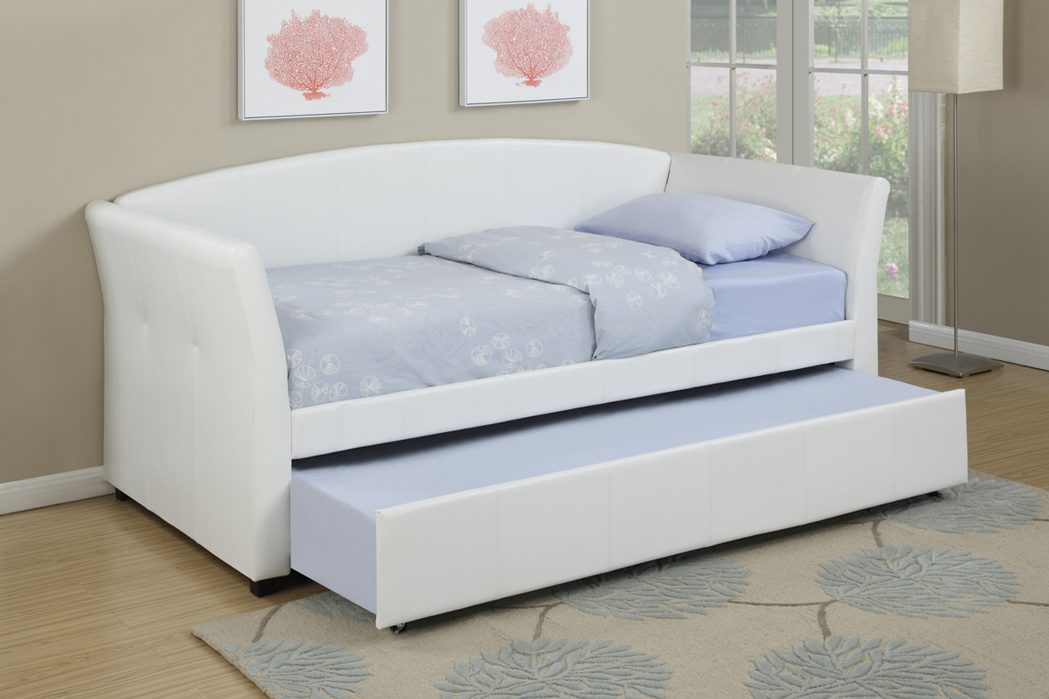 Picture of: Kassa Mall Home Furniture F9259 Twin Bed Daybed W Trundle Upholstered In White Leather