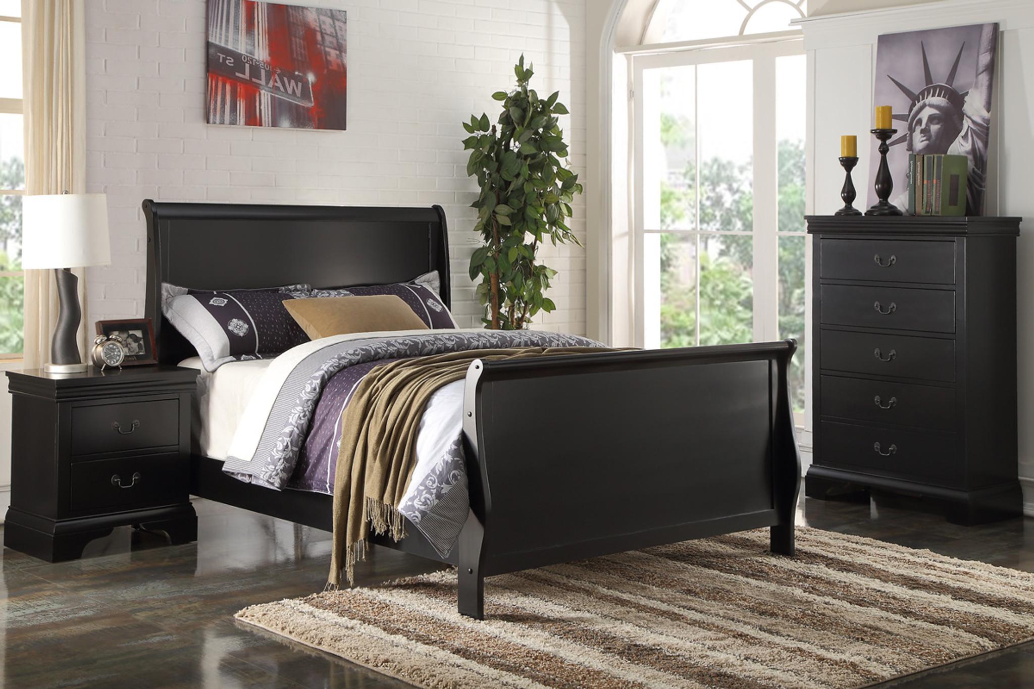 Kassa Mall Home Furniture F9230t F9230f Sleigh Design Black Twin Full Bed Frame