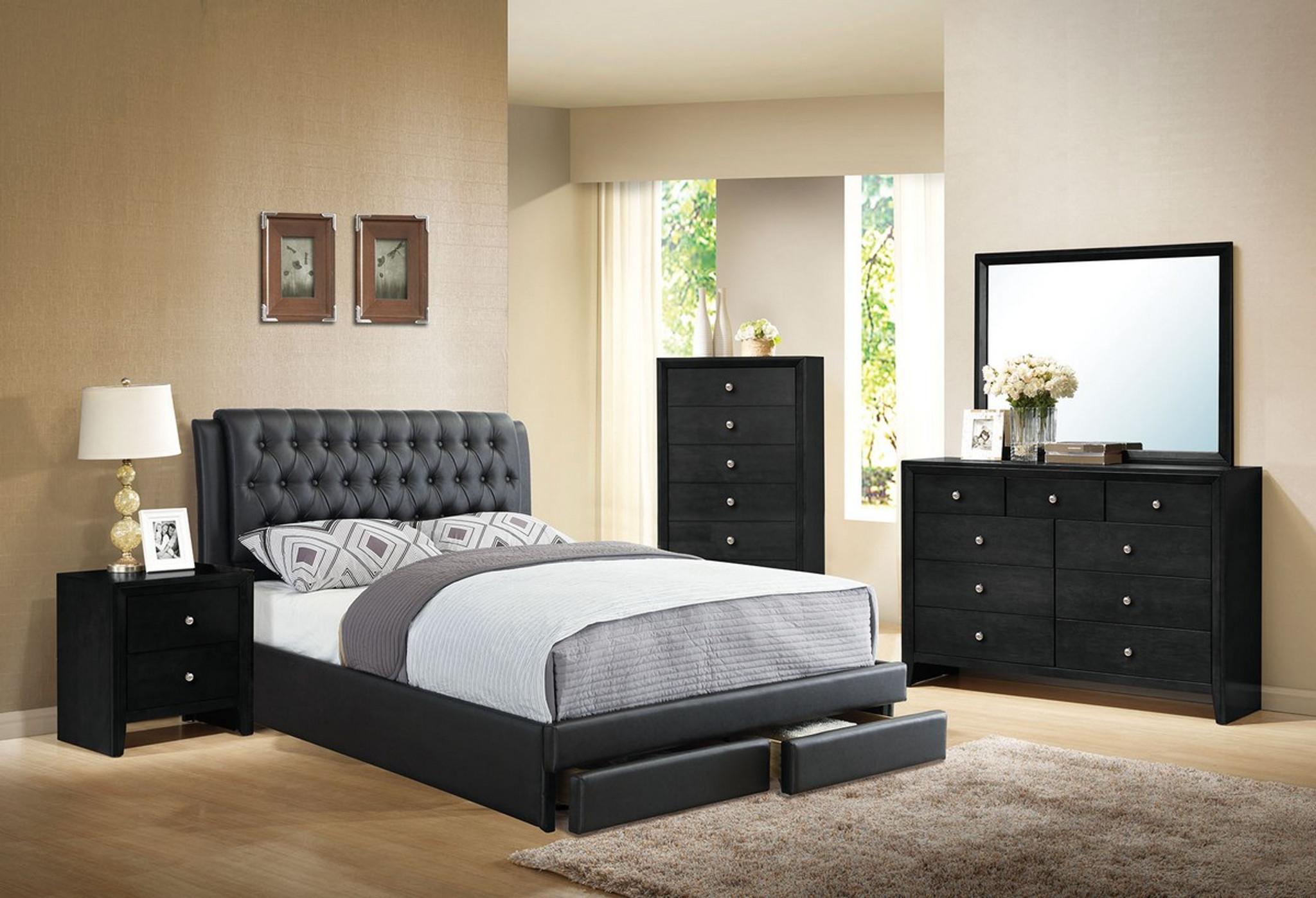 MASTER BEDROOM BED FRAME PLATFORM WITH FRONT STORAGE DRAWERS UPHOLSTERED IN  BLACK LEATHER