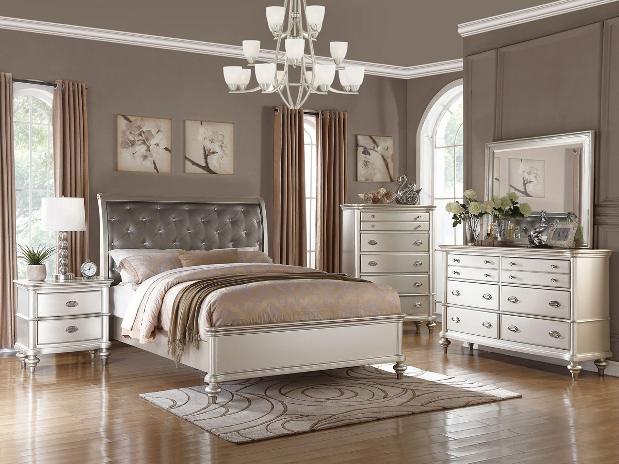 ANTIQUE SILVER BED FRAME WITH UPLHOLSTERED HEADBOARD AND TUFTING ACCENT - KASSA MALL HOME FURNITURE - F9317 - ANTIQUE SILVER BED FRAME WITH