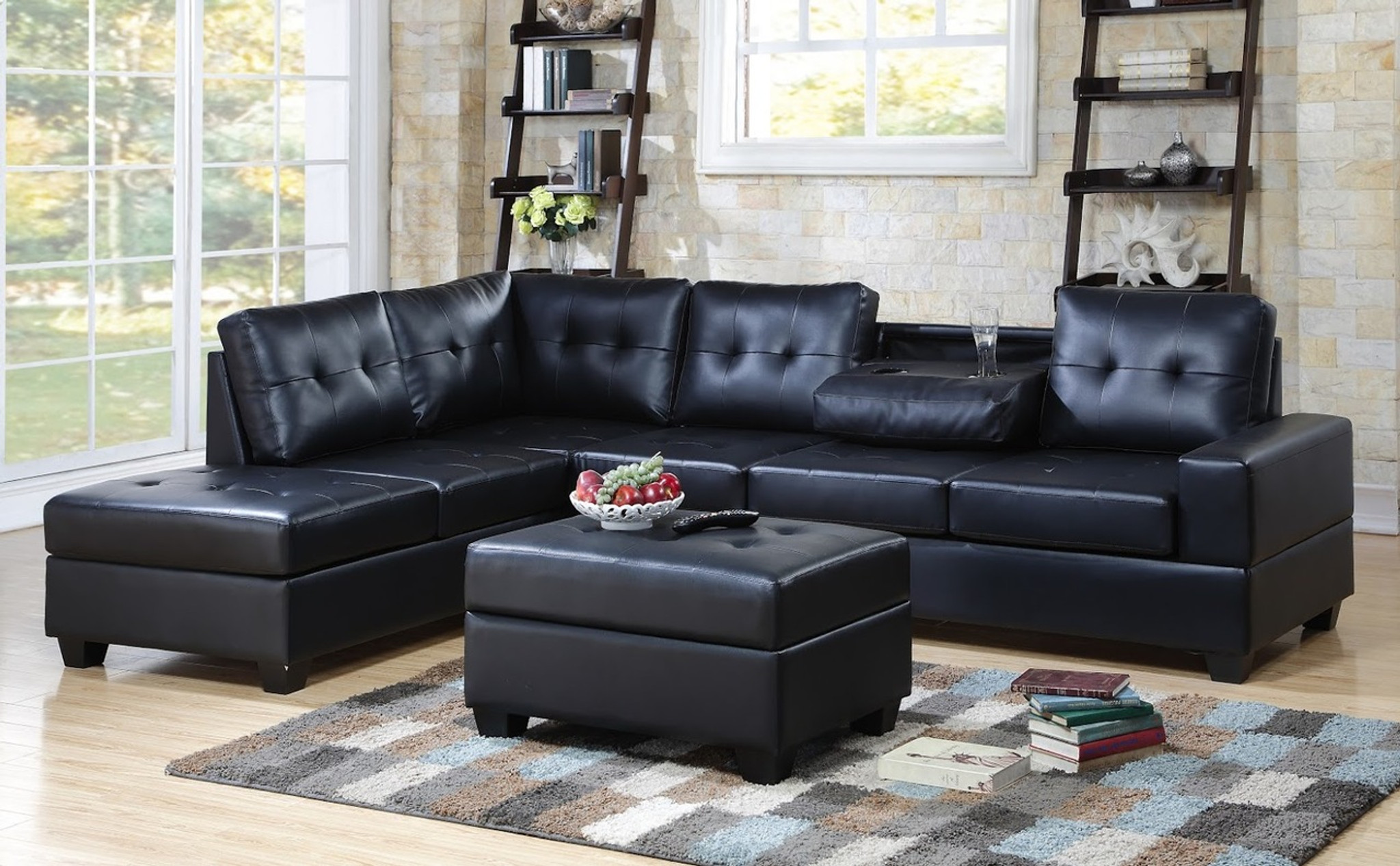 3heights Blk 3 Pcs Heights Sectional With Dropdown Table And