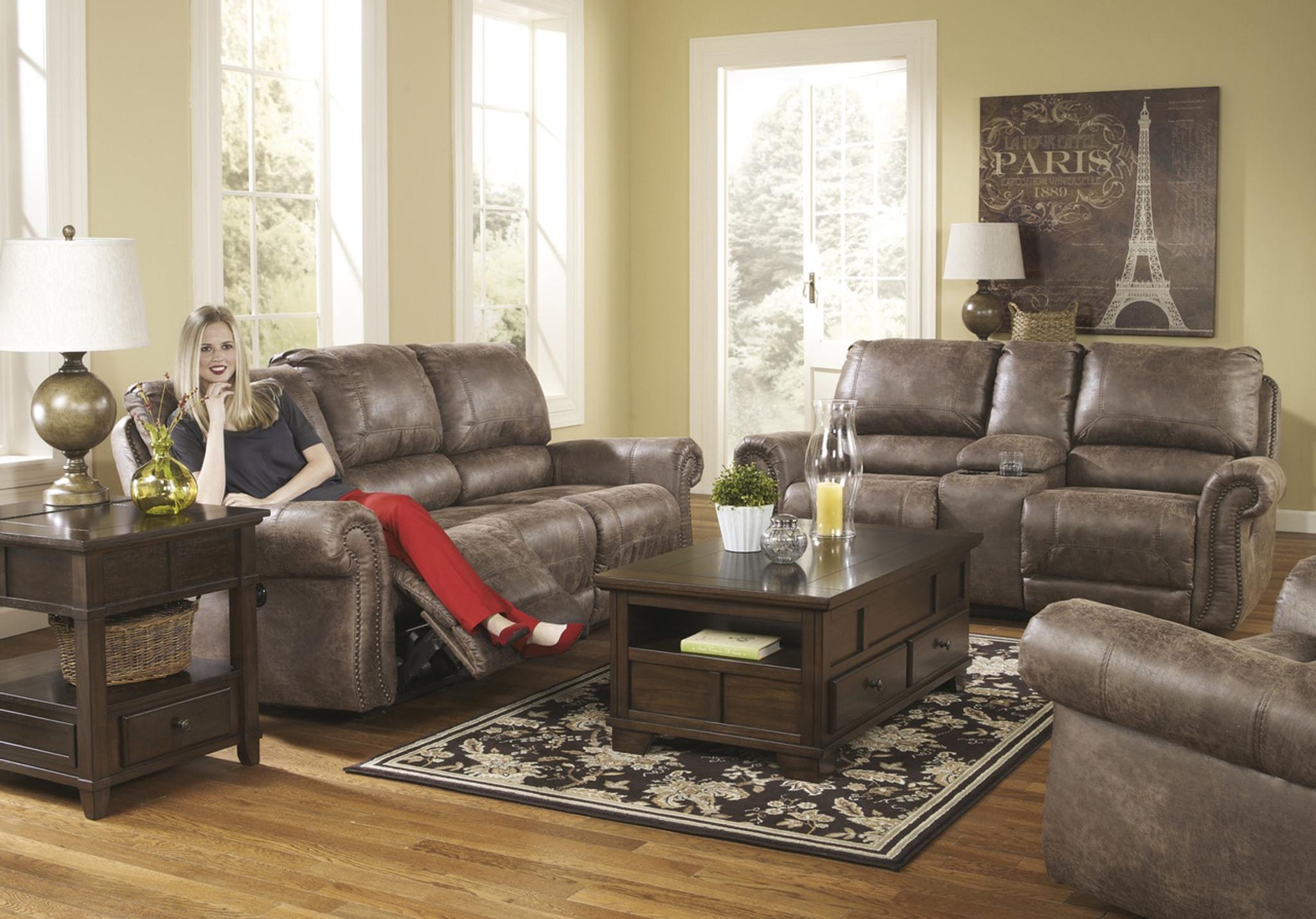 3pc ashley motion sofa set brown 741