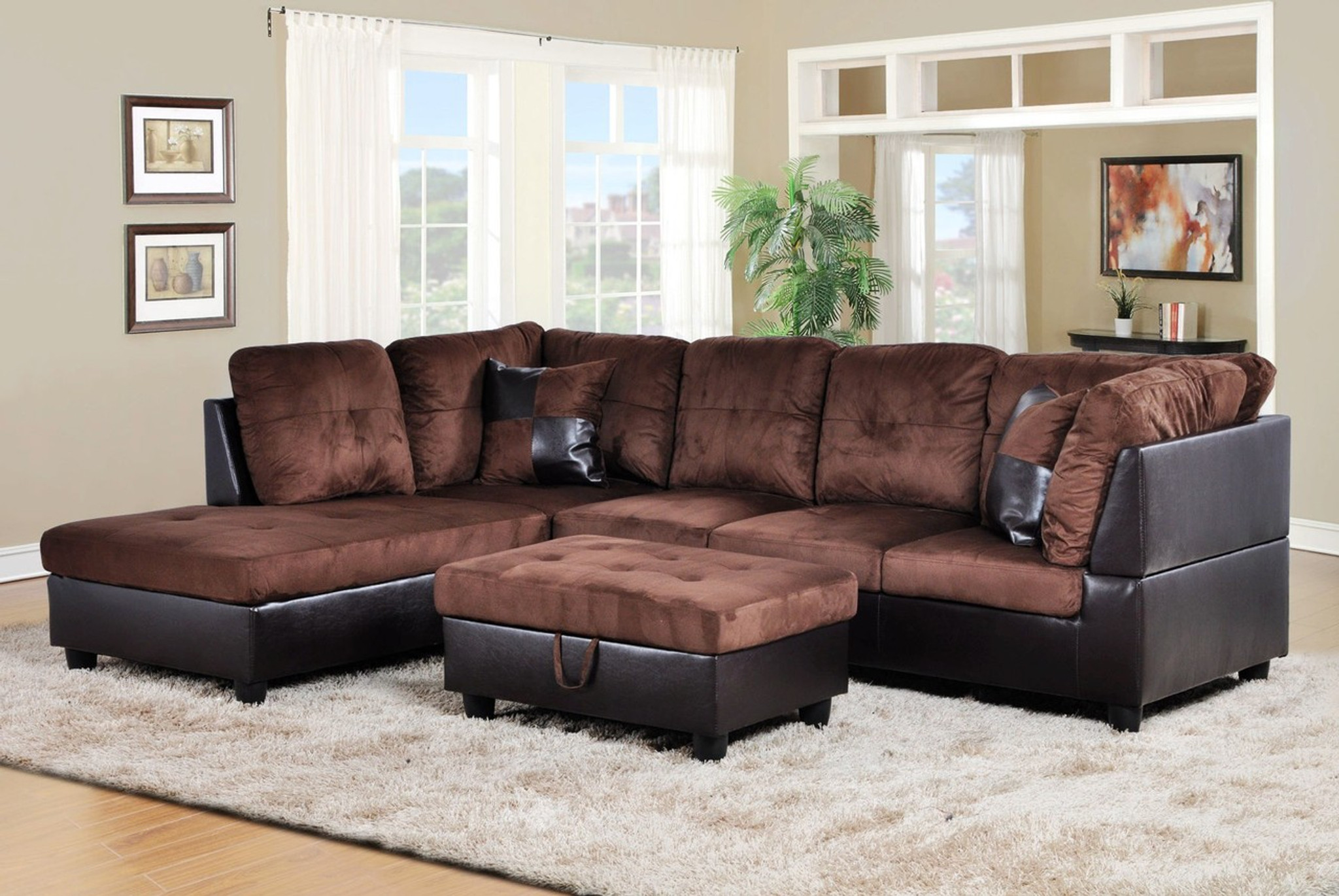 F107a 2 Pcs Alexander Brown Sectional With Accent Pillows Right Facing Sofa Collection By Beverly Furnitures